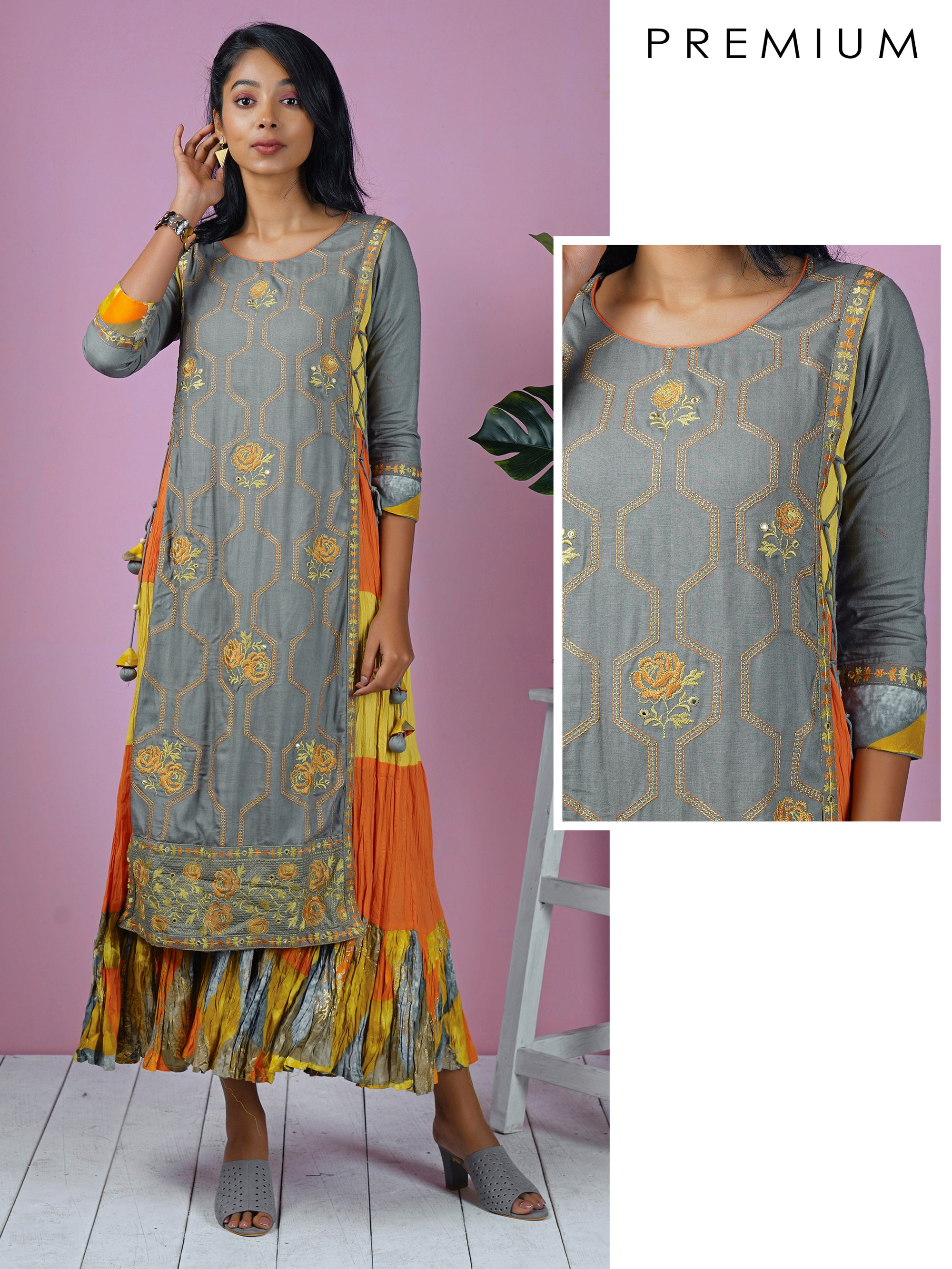 Geometric & Rose Embroidered, Layered & Tiered Kurta - Grey, Orange & Yellow
