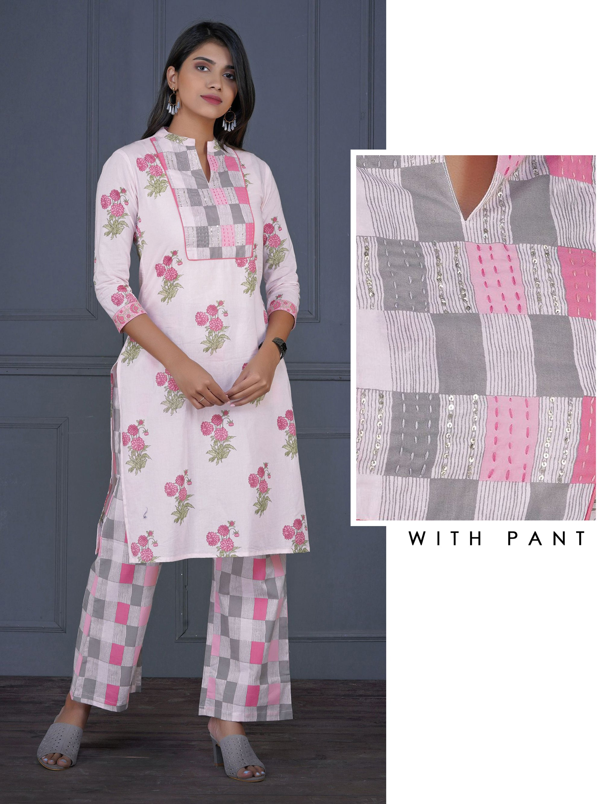 Embroidered Floral & Checks Printed Kurta with Chequered Pant Set