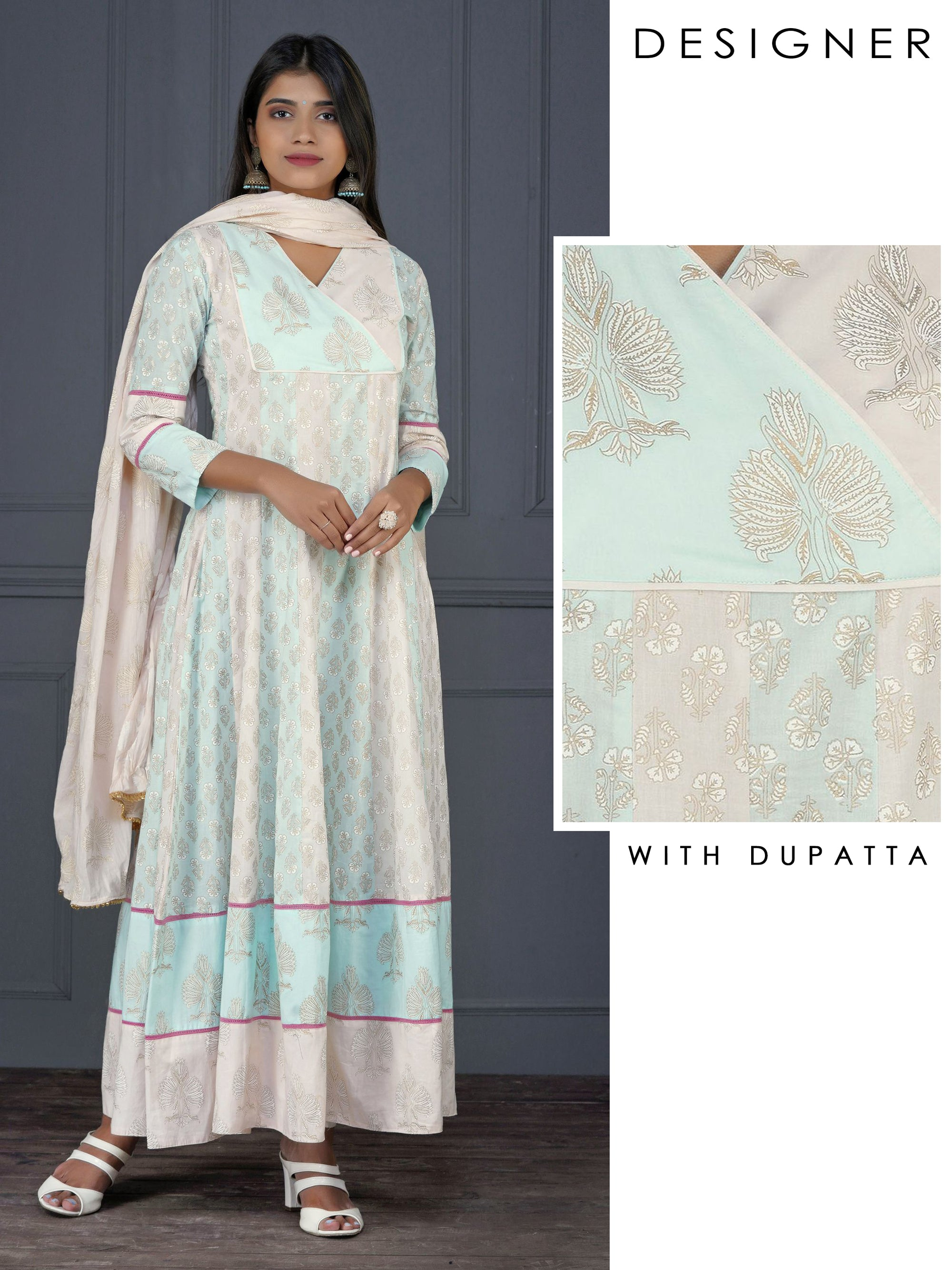 Overlapping Ethnic Printed Anarkali with Dupatta Set