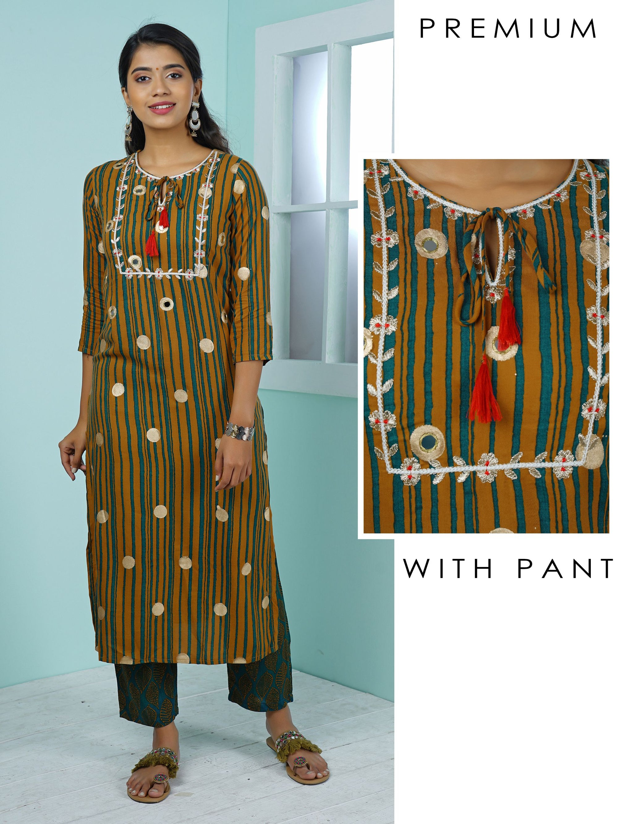 Mirror & Zari Work Stripe Printed Kurta with Leaf Printed Pant Set