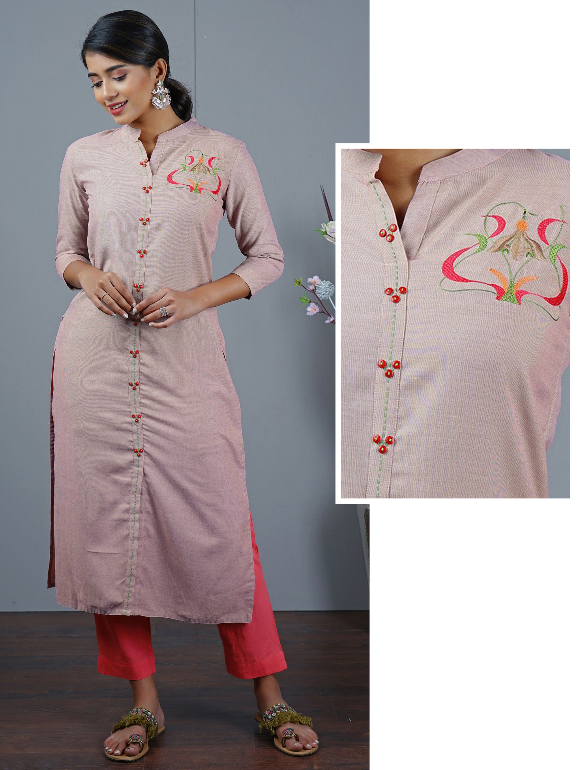 Abstract Placement Embroidered Kurta