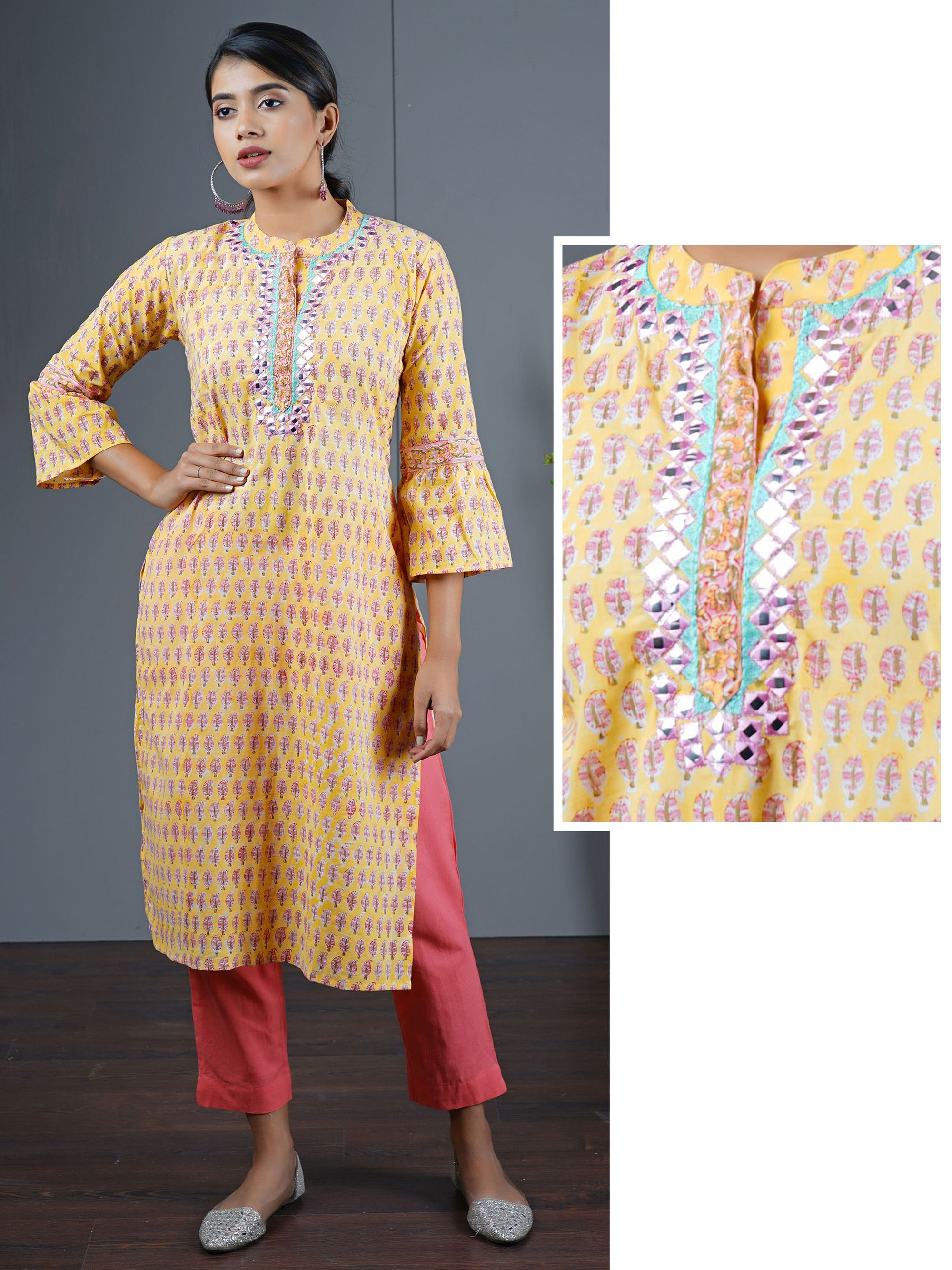 Foil Mirror Work & Ethnic Leaf Printed Kurta
