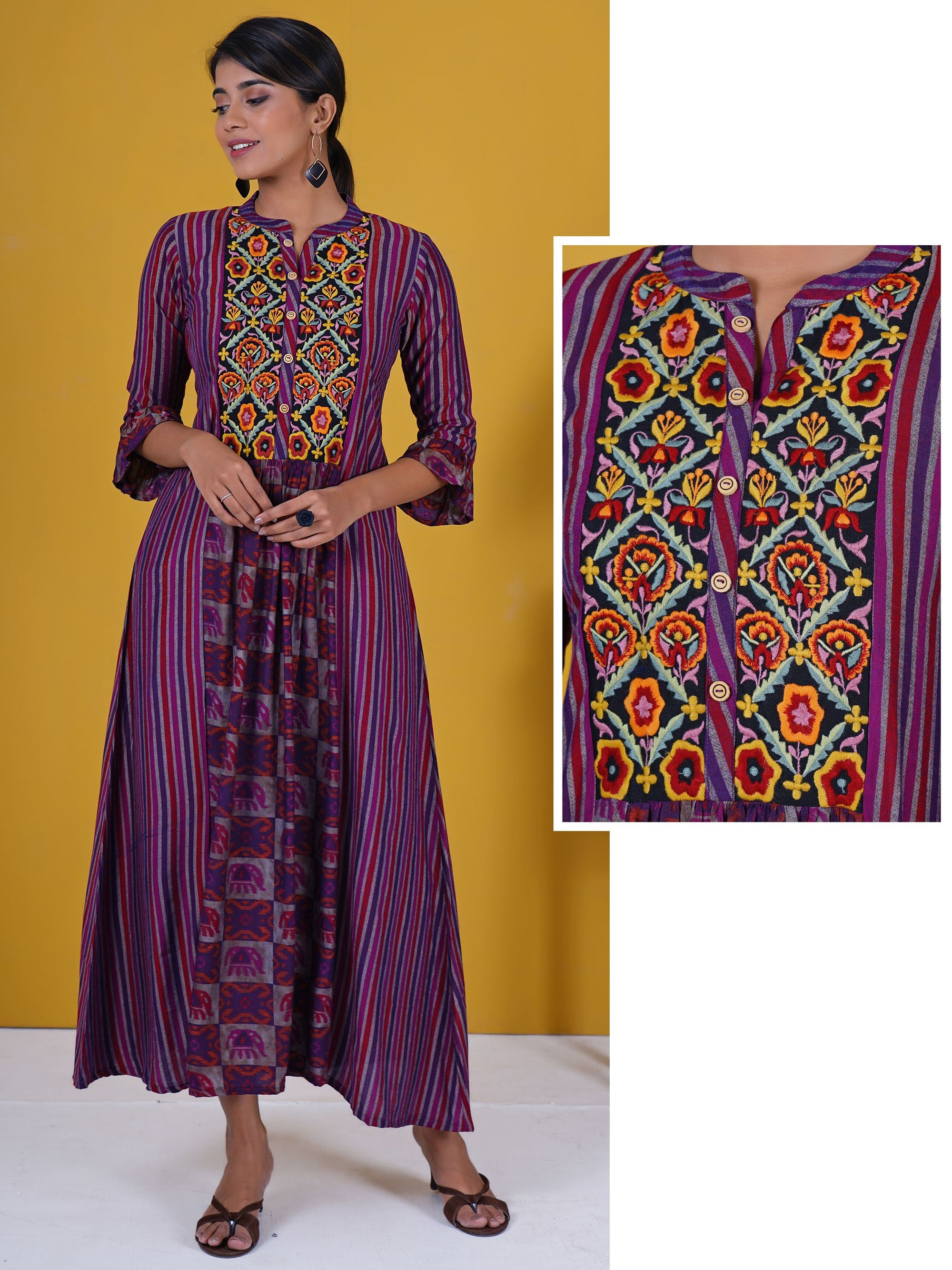 Resham Floral Work Striped Frill Sleeves Panelled Kurti - Magenta haze