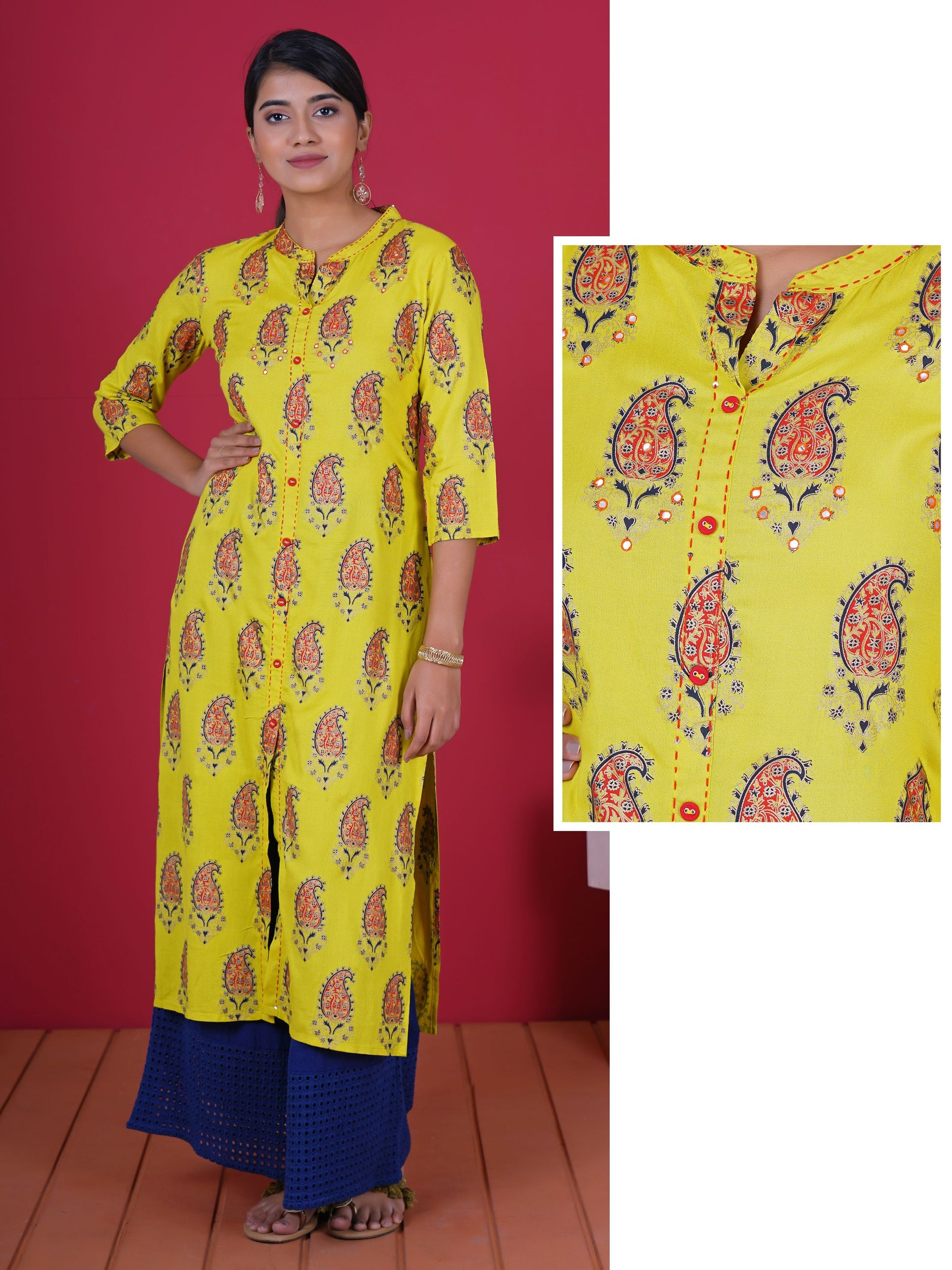 Foil Mirror, Resham & sequins Work Khadi Printed Cotton Kurti