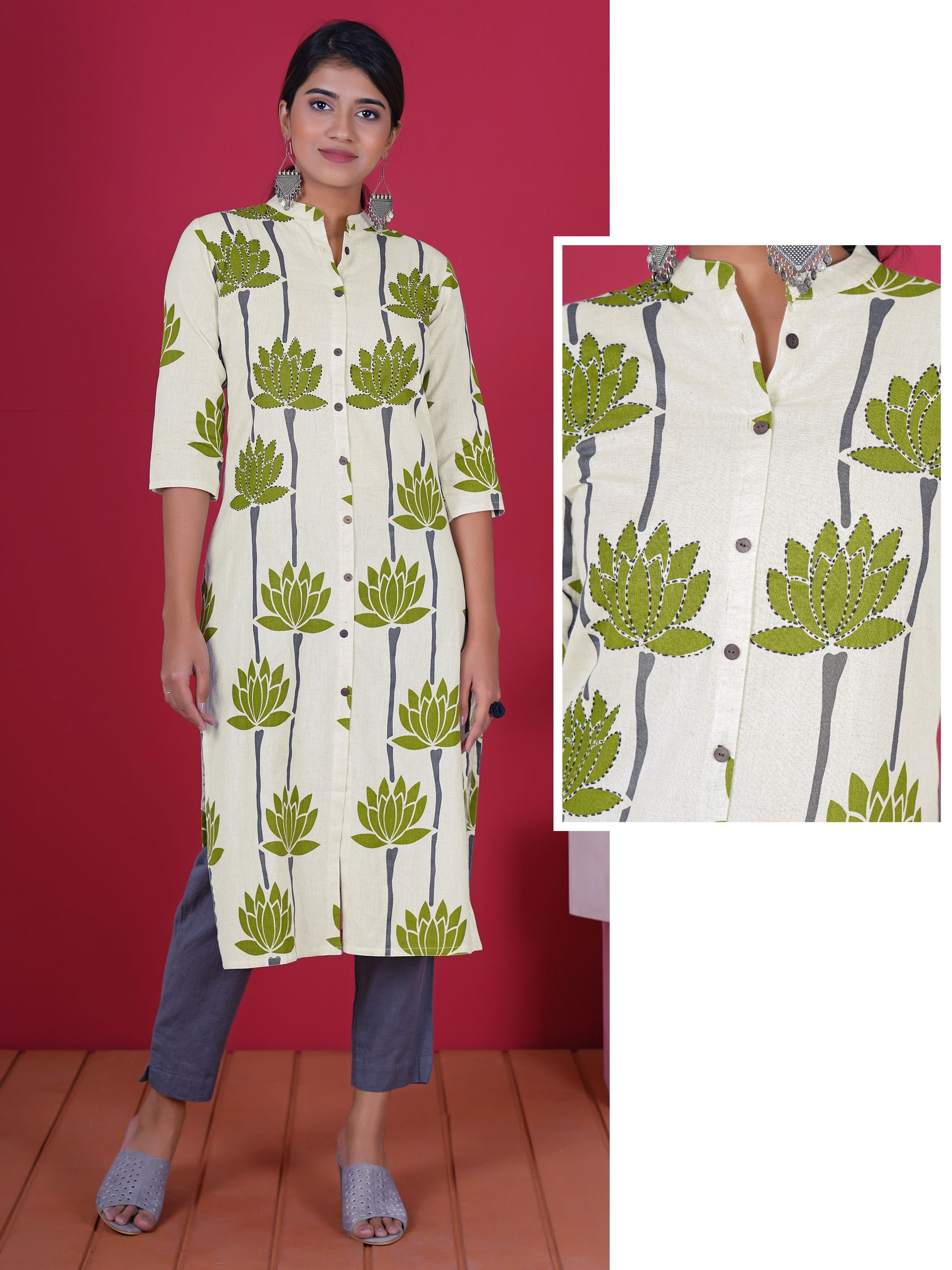 Resham Running Stitch Work Lotus Print Cotton Kurti