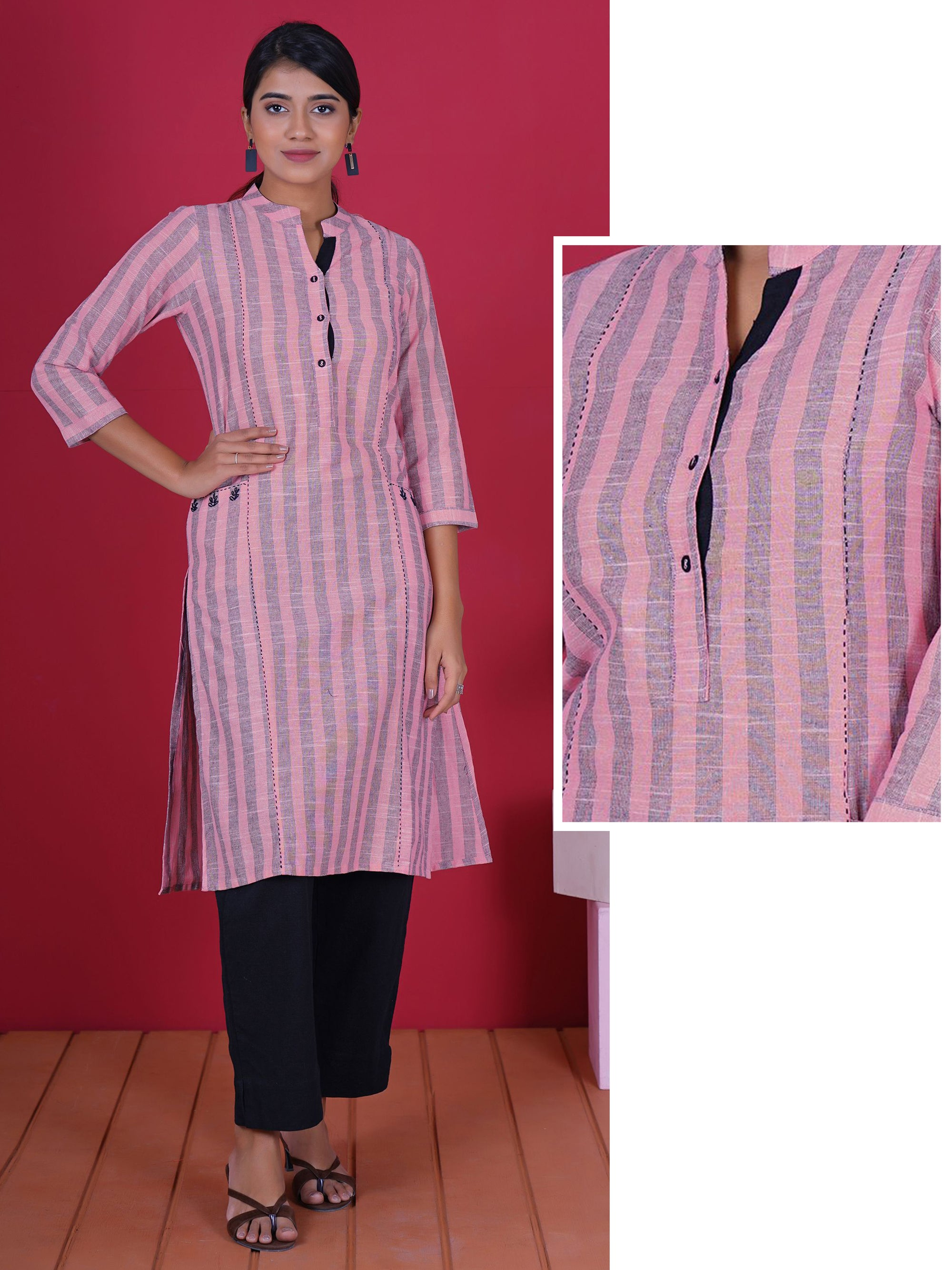 Resham Hand Work & Running Stitched Cotton Kurti