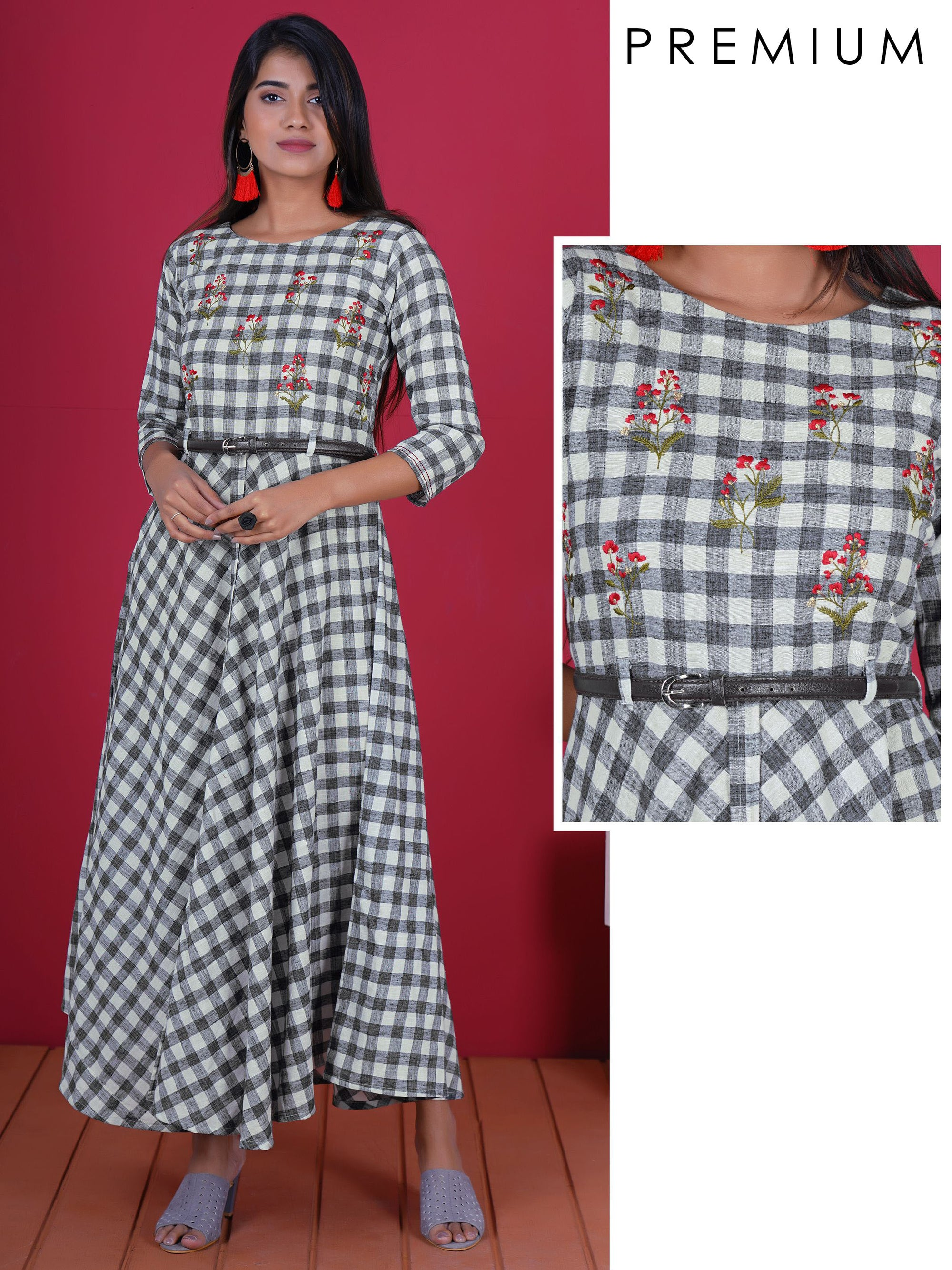 Resham & Zari Work Checkered Cotton Kurti & Faux Leather Belt