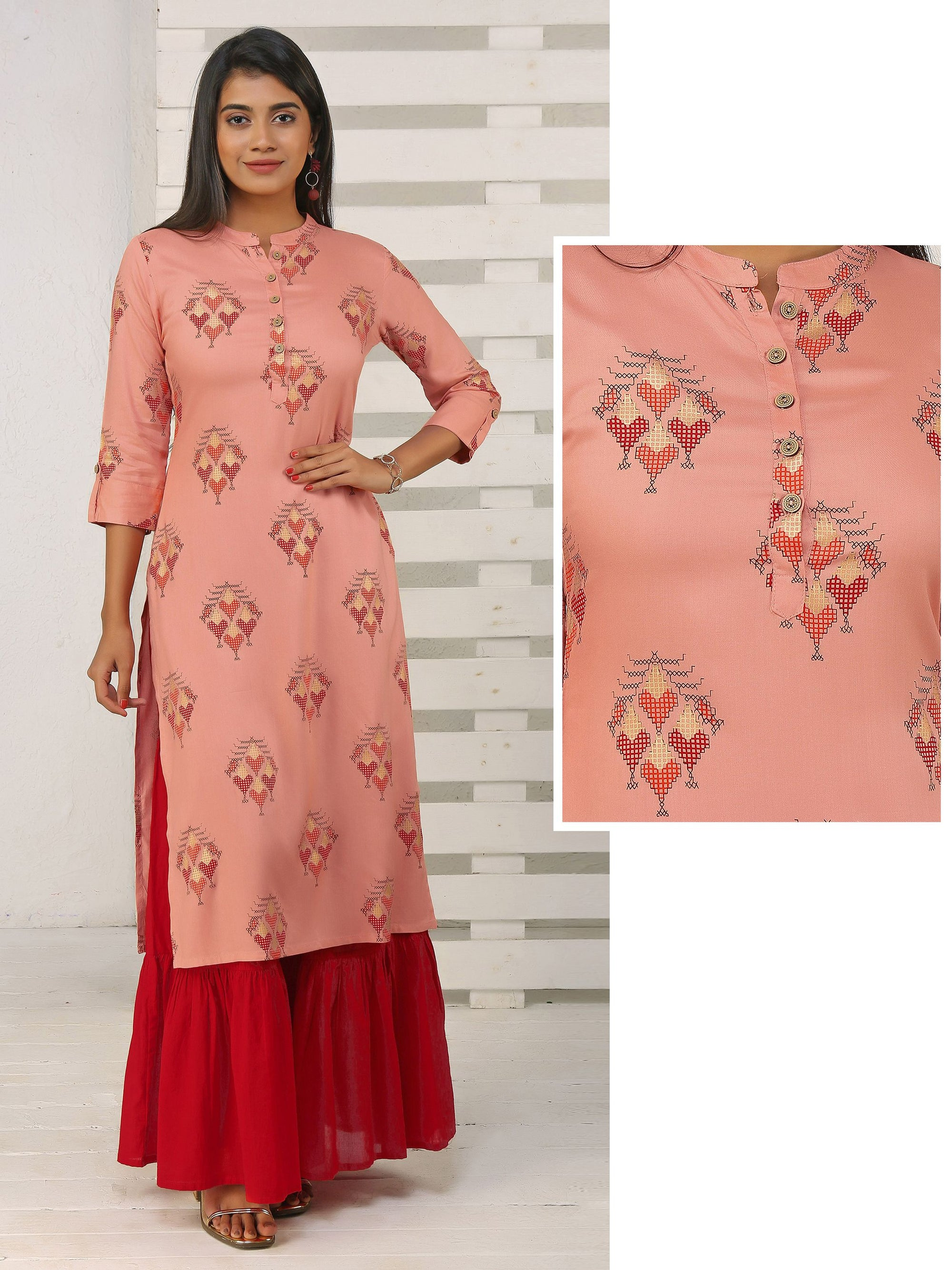 Abstract Printed Straight Kurta - Peach