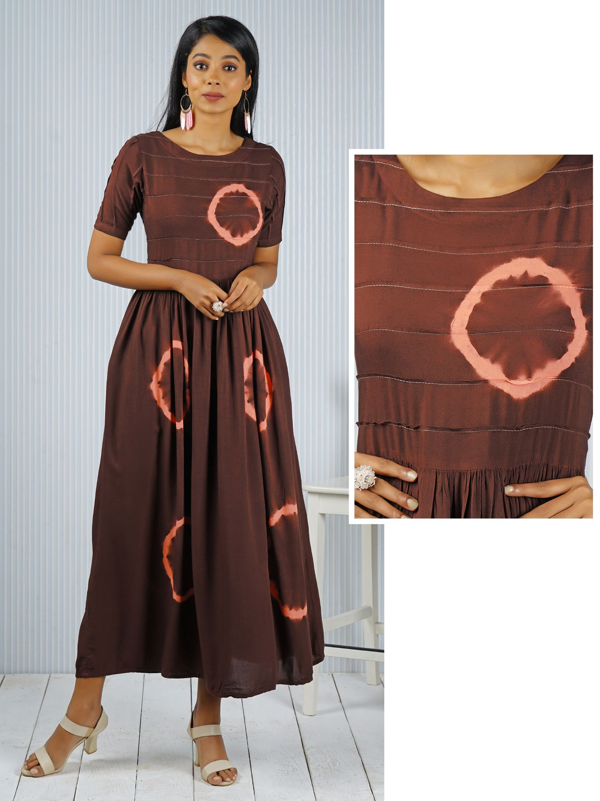 Brown A-Line Maxi Dress With Tie-Dye Effect Design