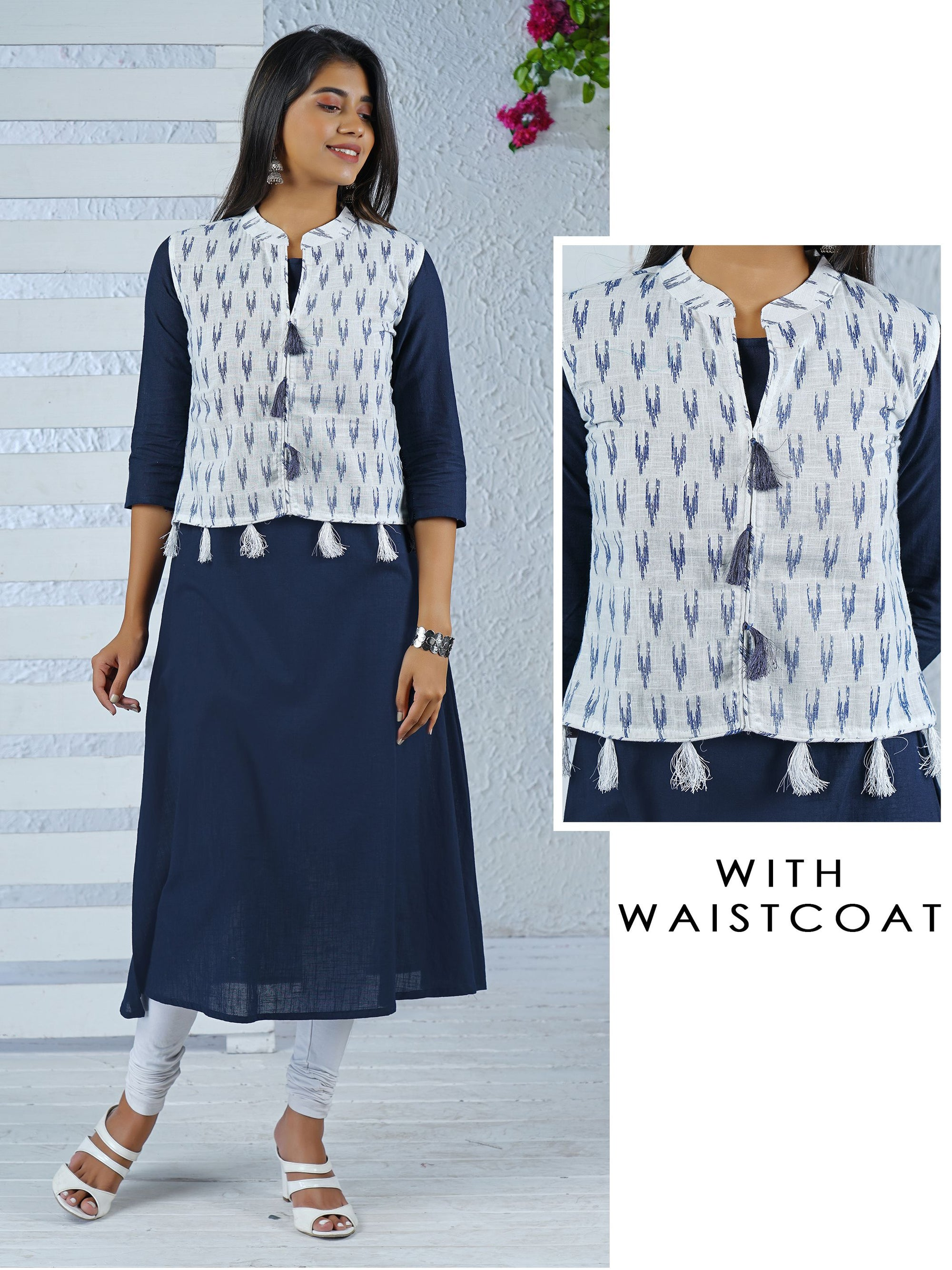 Solid Handloom Kurti with Ikkat Printed Waist coat