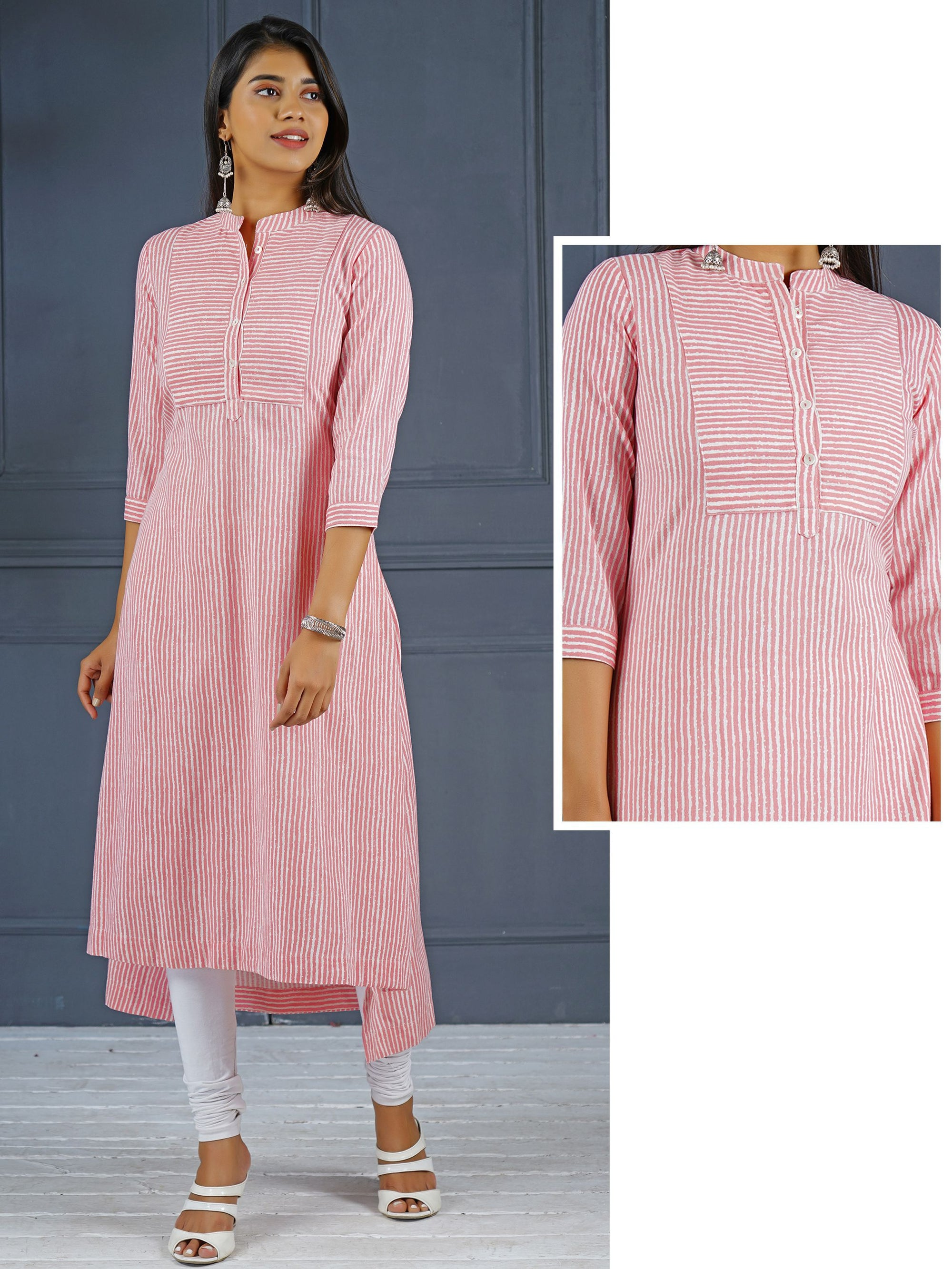 Stripes Printed Asymmetric Kurti - Pink