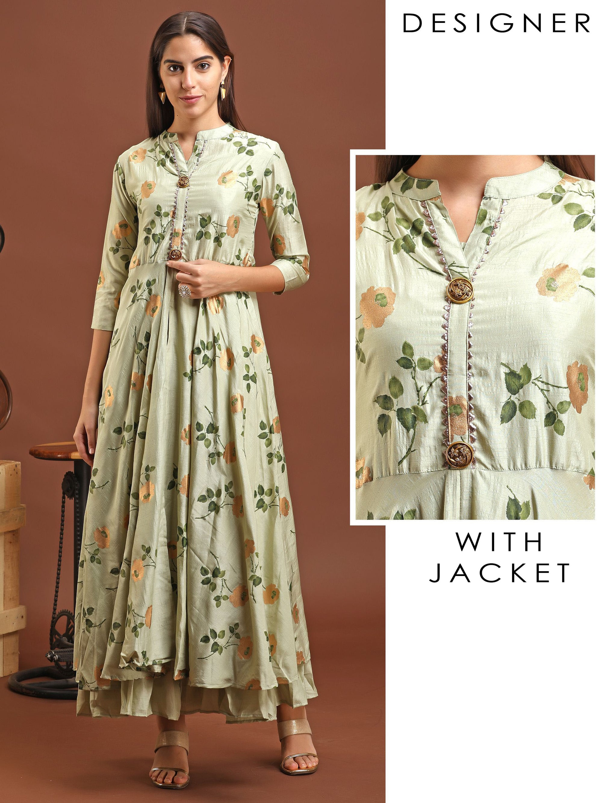Floral Printed Gota Worked Slit Jacket & Gathered Detachable Inner - Green