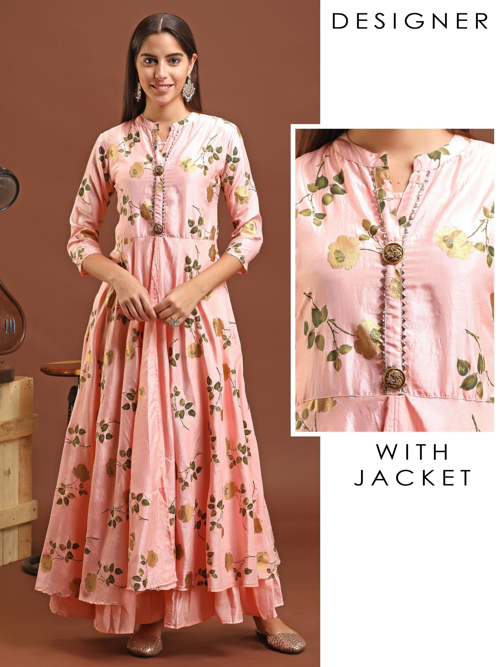 Floral Printed Gota Worked Slit Jacket & Gathered Detachable Inner - Pink