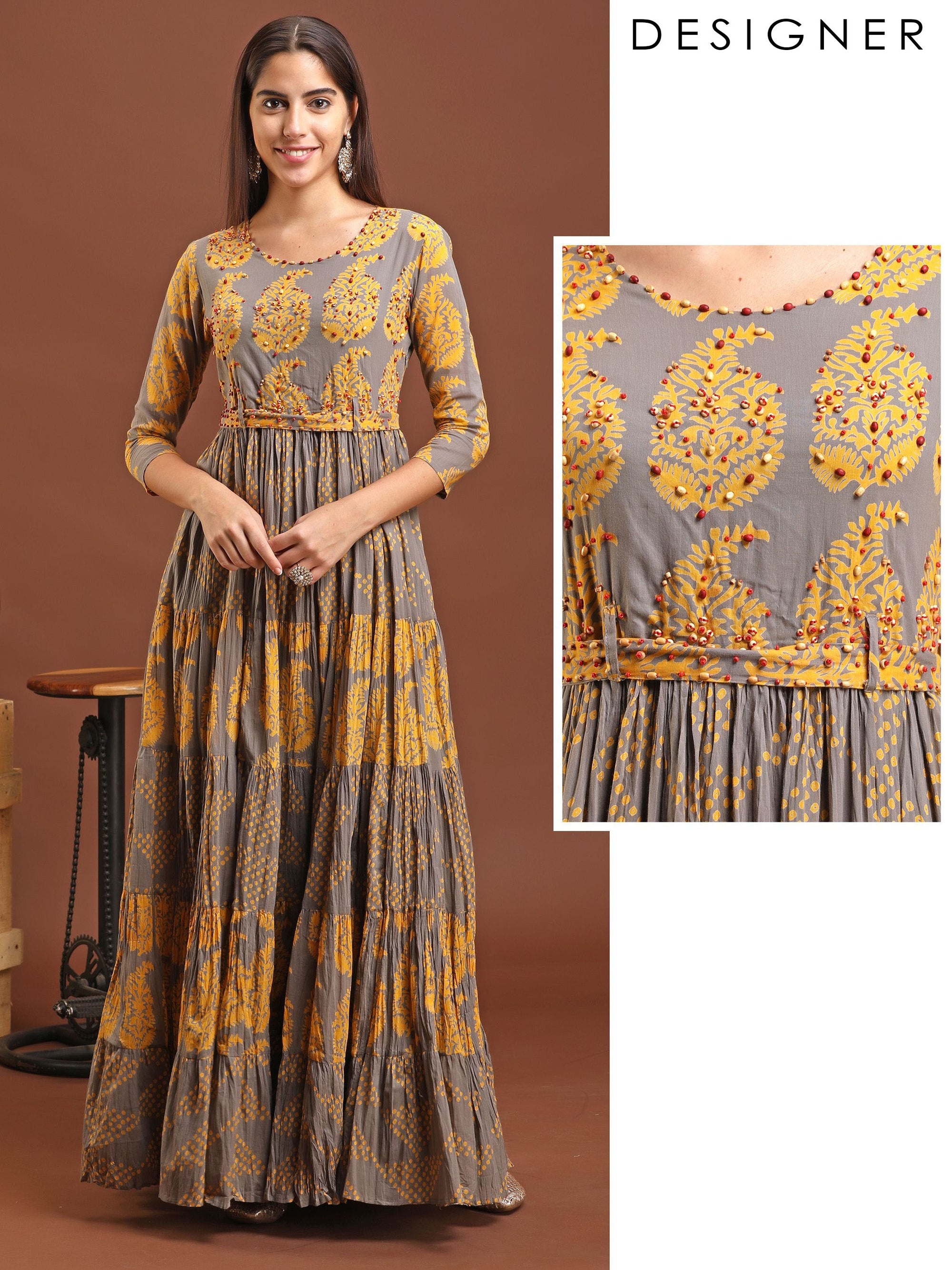 Yellow Leaf Printed Flowy Maxi Dress with Belt
