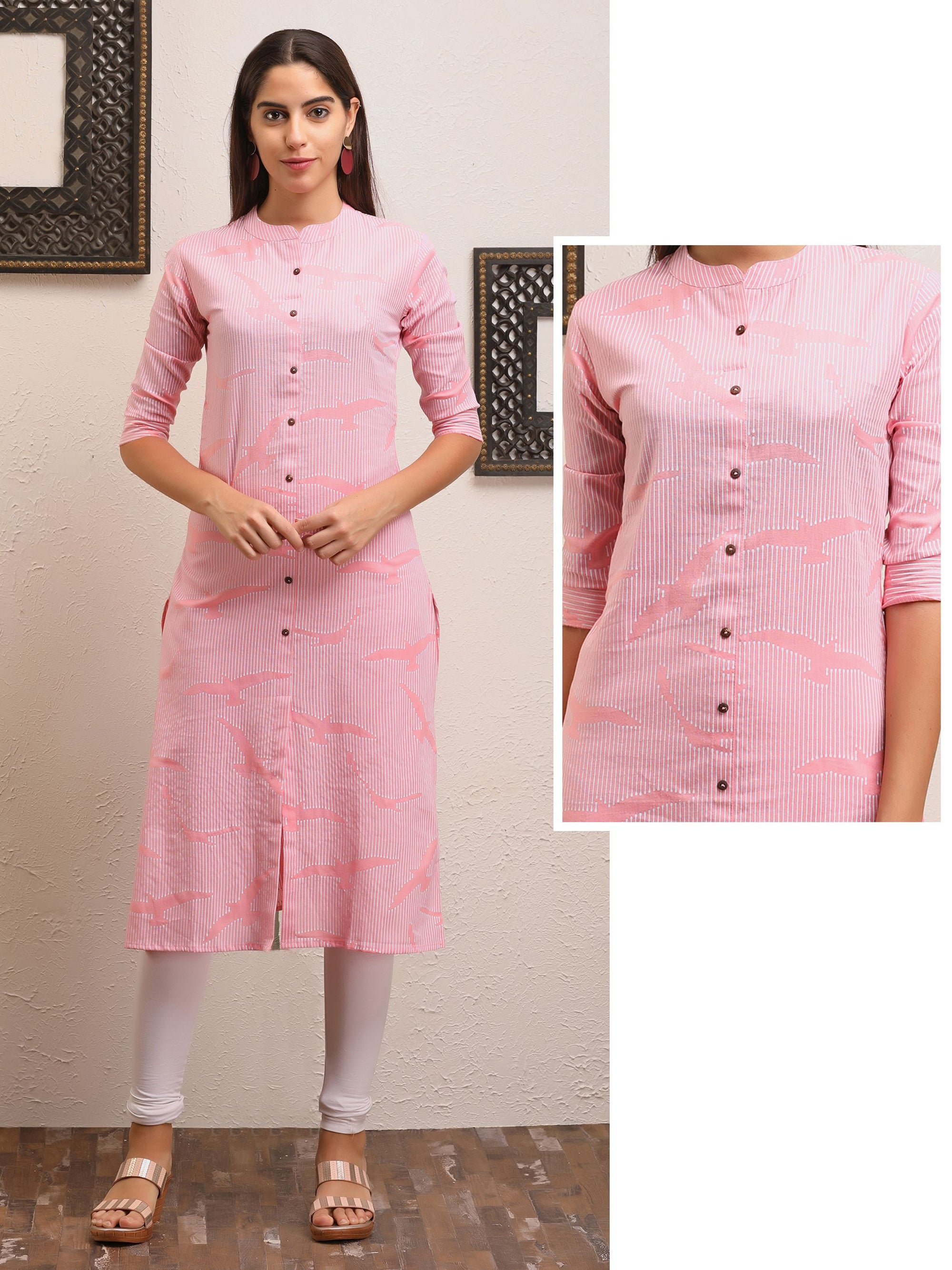 Bird And Striped Printed Kurta - Pink