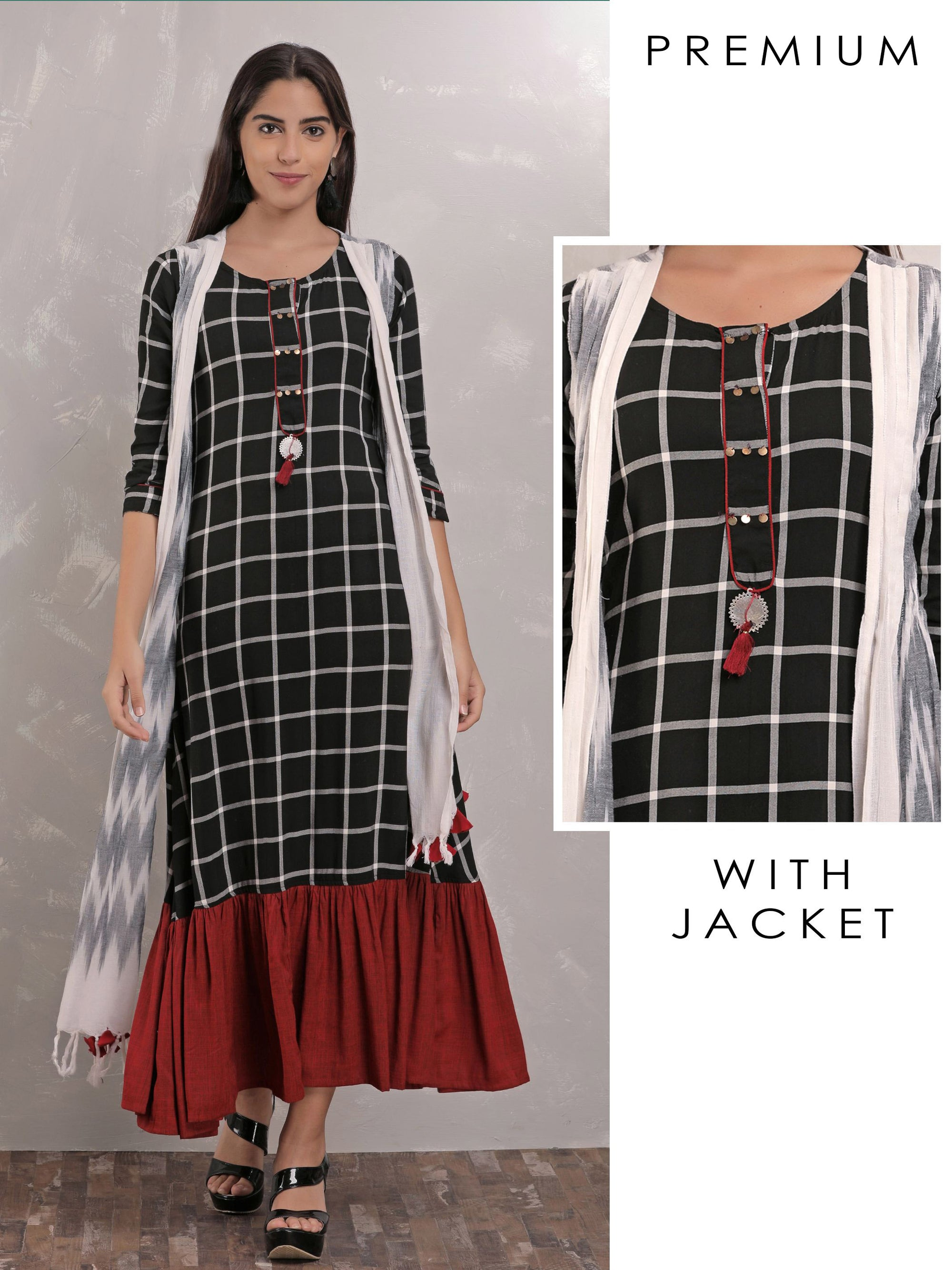 Checked Maxi Dress With Dropped Waist And Jacket