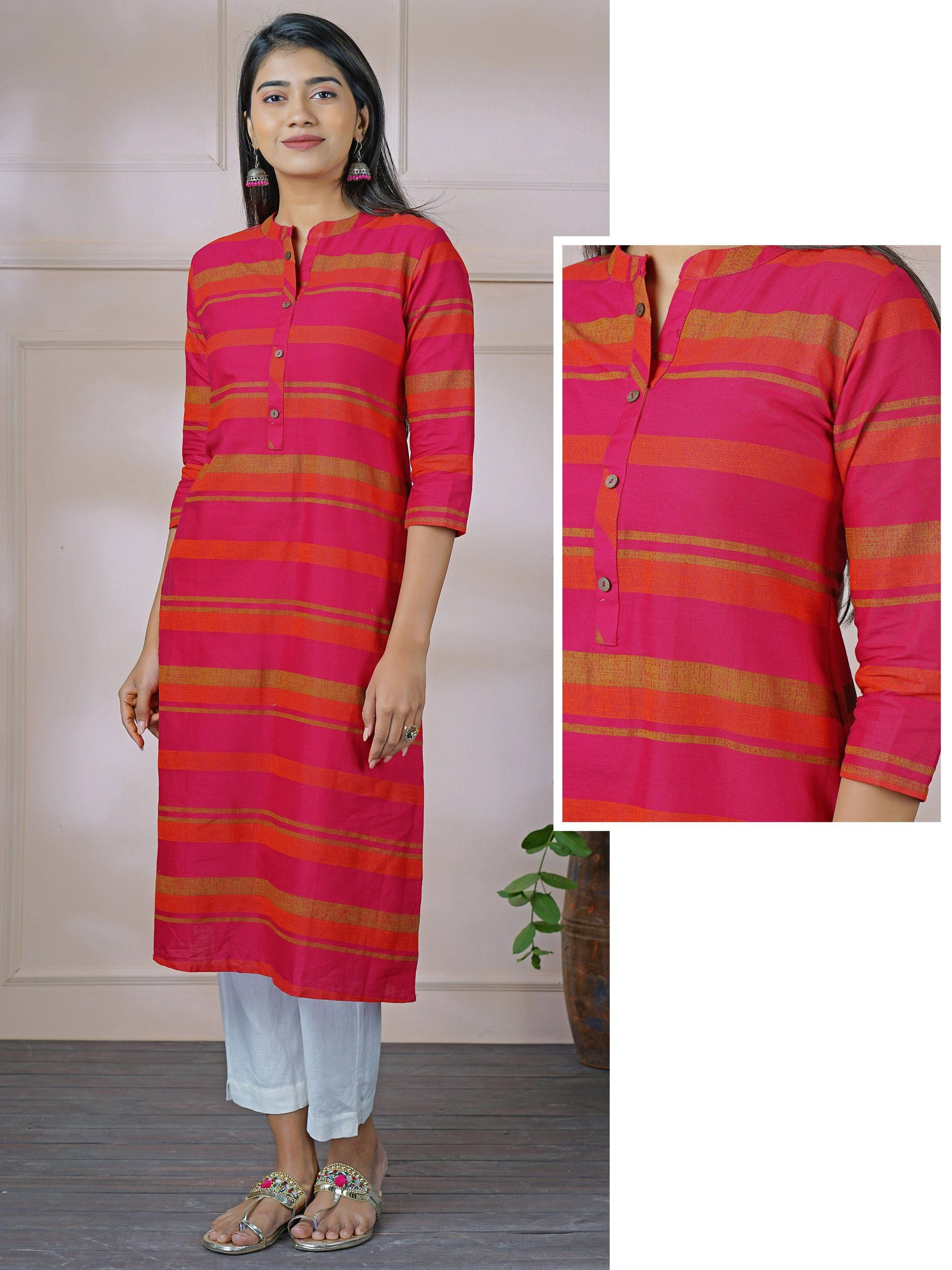 Solid Striped & Coconut shell Buttoned Cotton Kurti