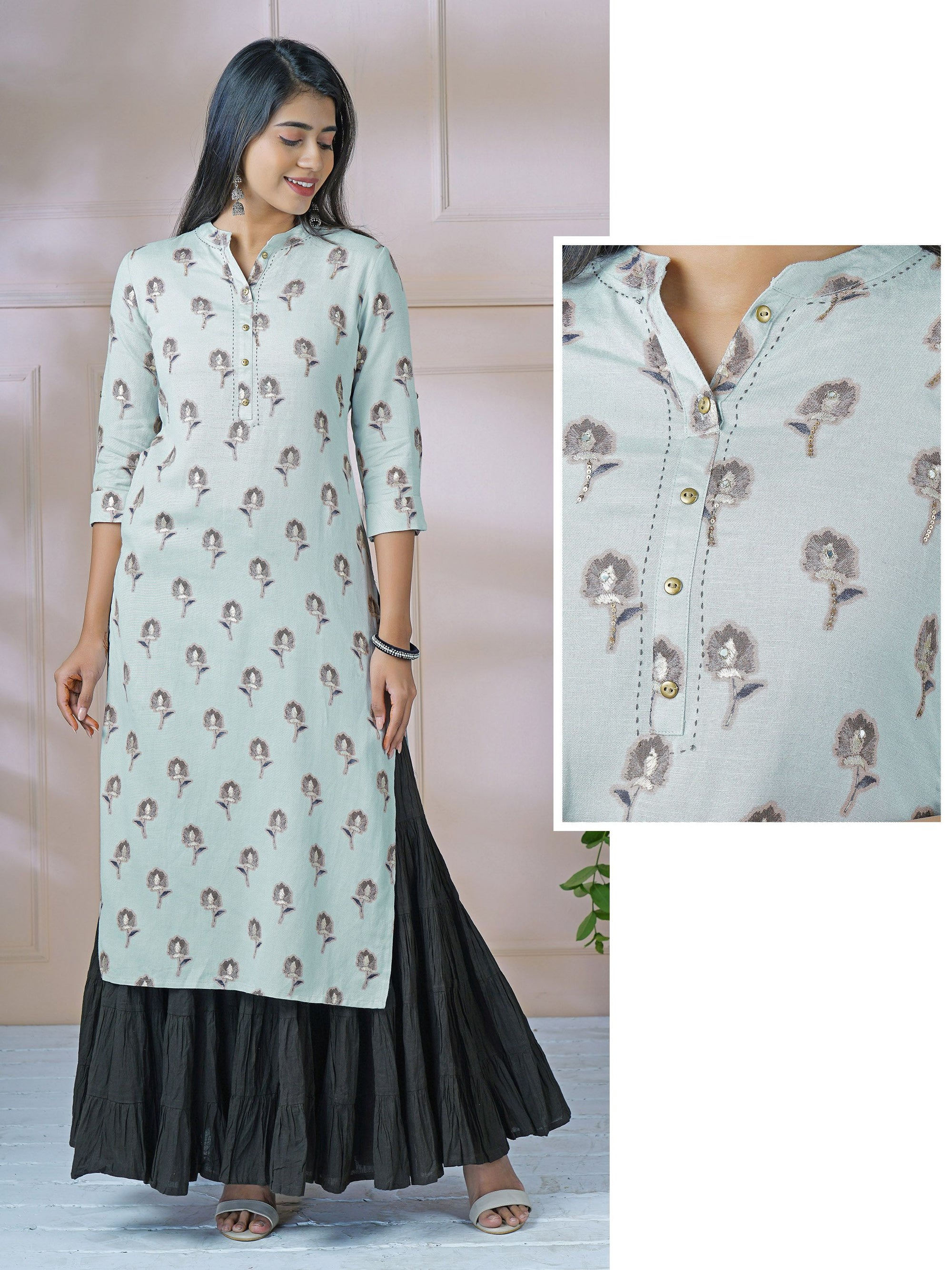 Sepia Floral & Foil Printed Mirror Worked Kurti