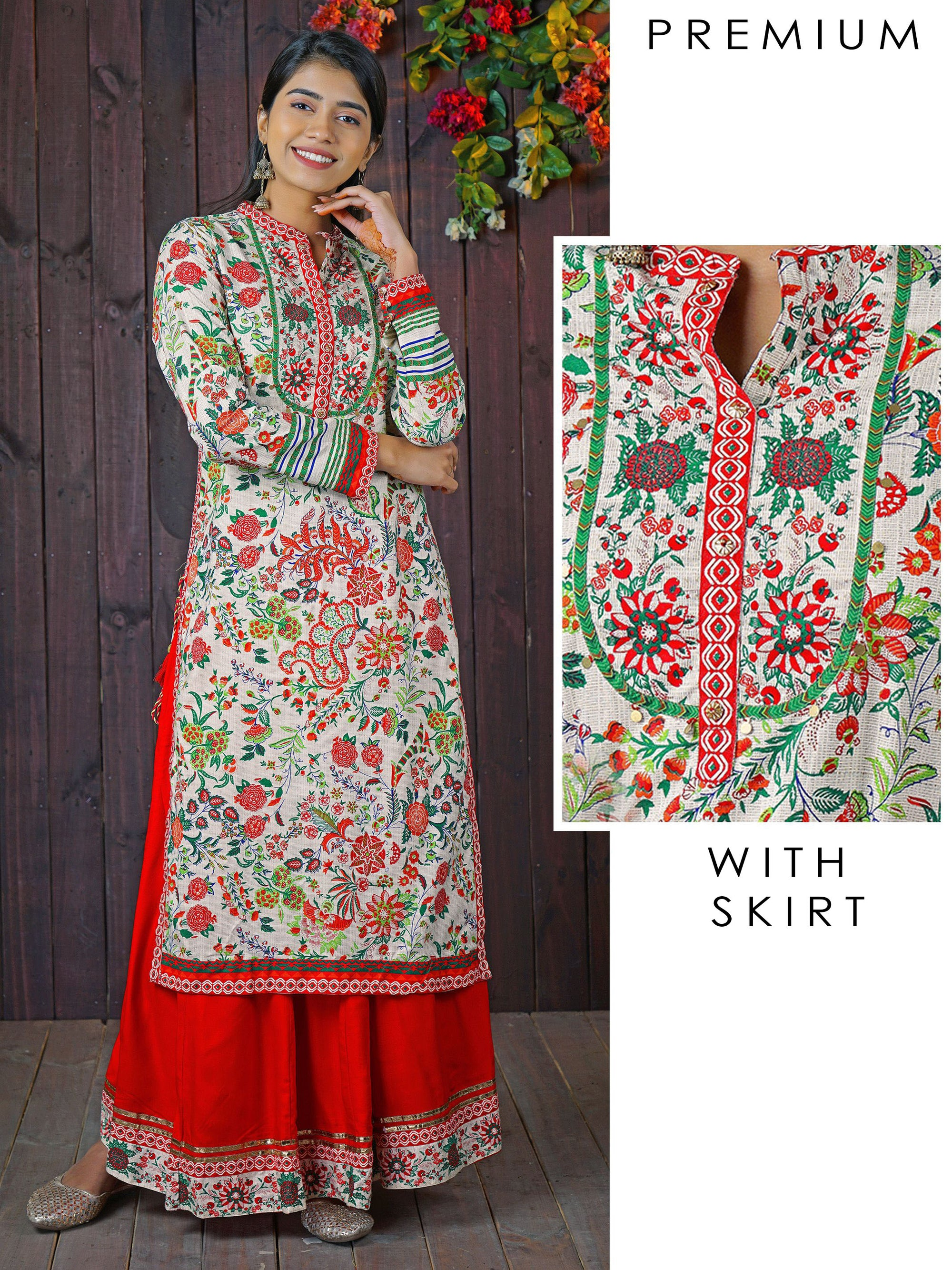 Jazzy Floral Printed, Tiki Coin Kurti & Solid Panel Skirt Set