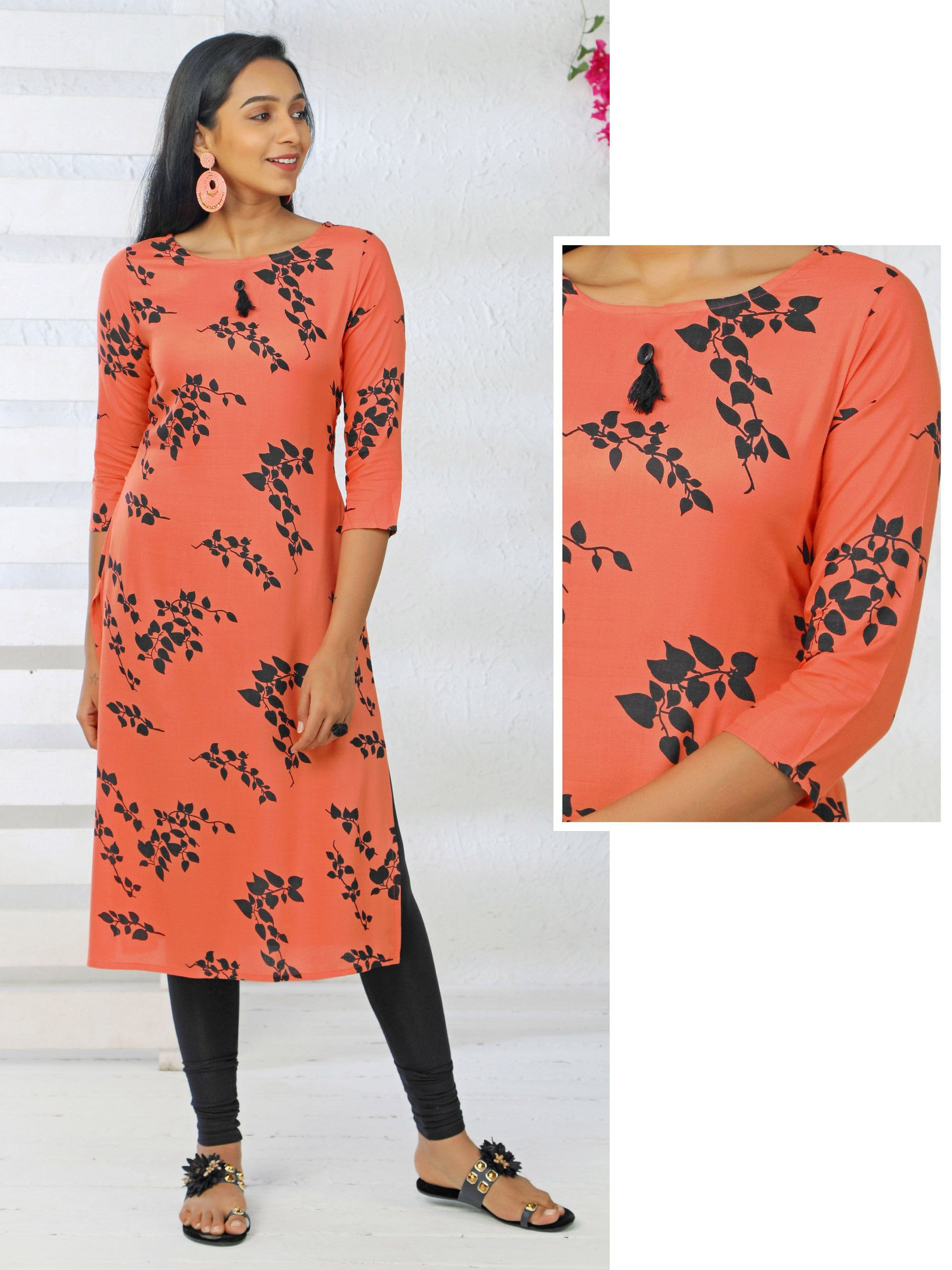 Leaf Printed Tassel Cotton Kurti
