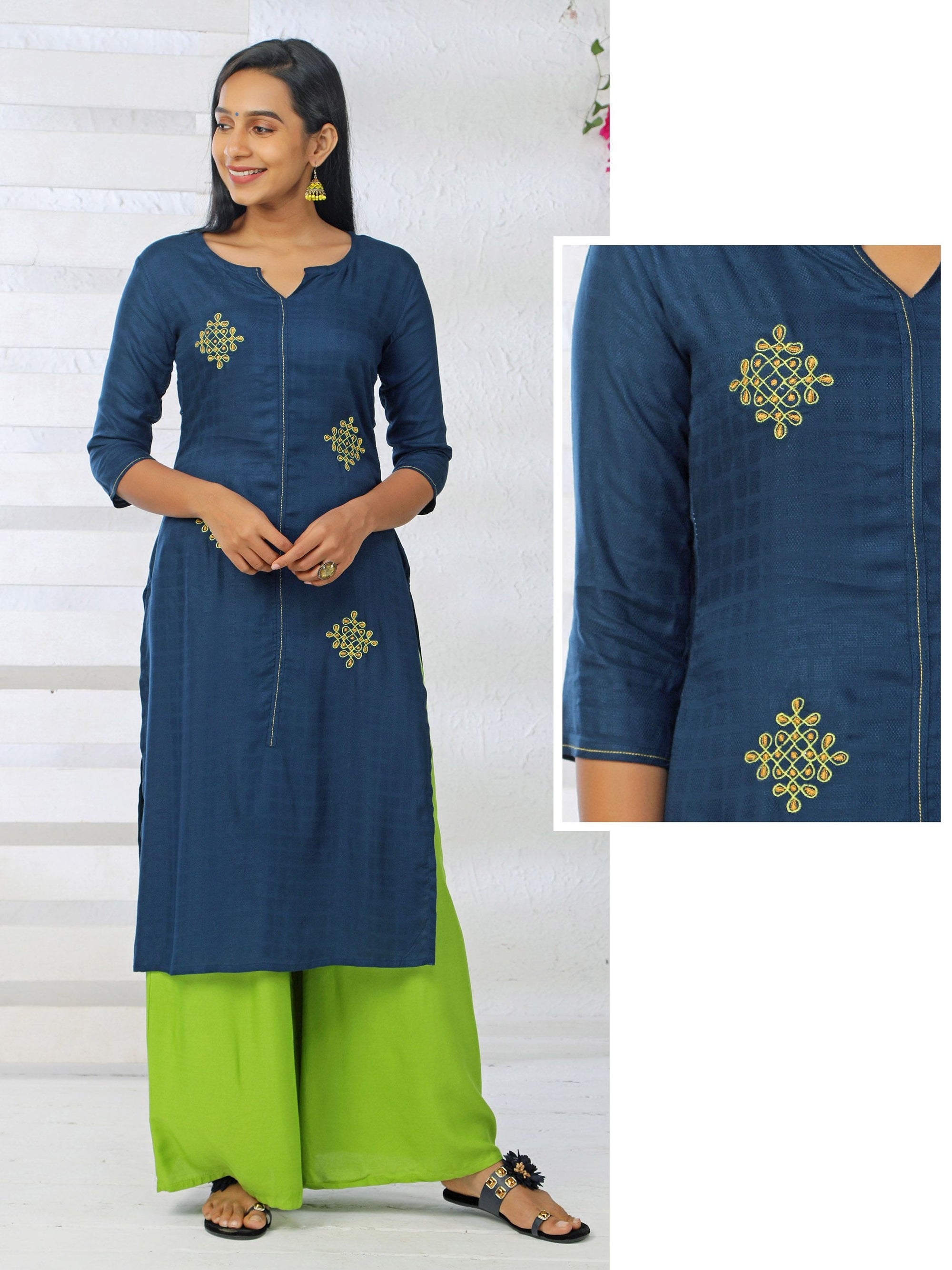 Seven Dots Kolam Embroidered & Self Designed Rayon Kurti