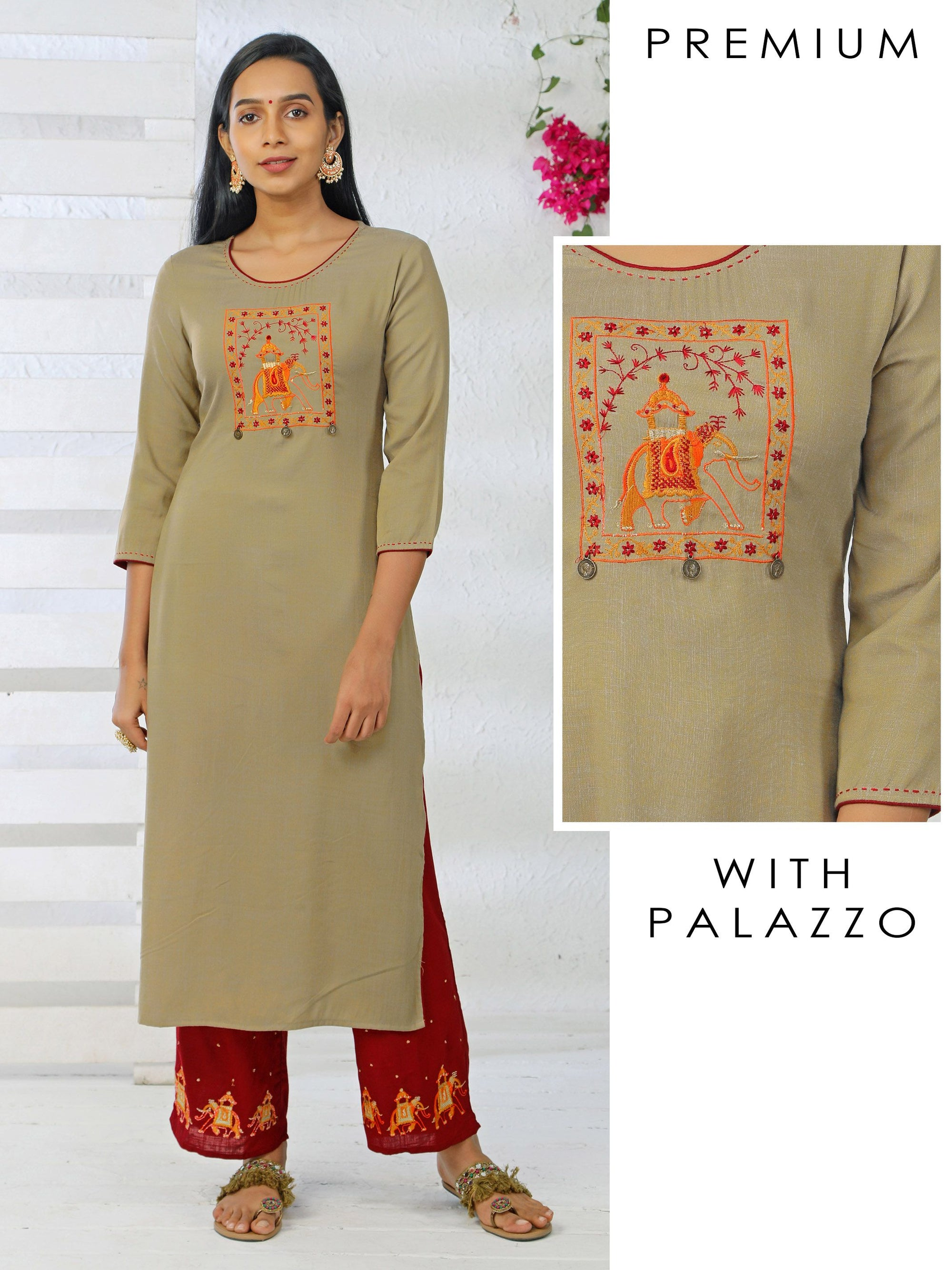 Elephant Embroidered Dual Toned Kurti & Embroidered Parallel Pant Set