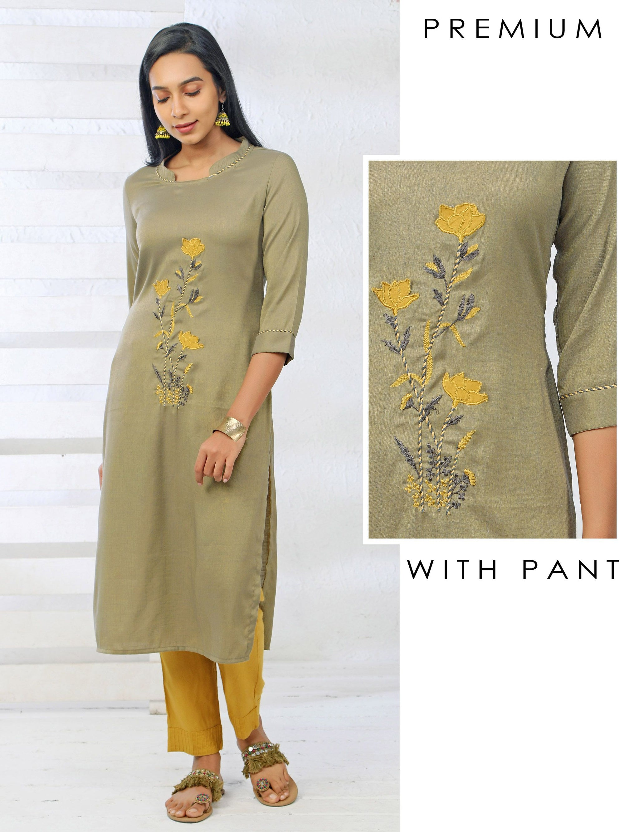 Embossed Tassel Embroidered Kurti & Pin Tucked Narrow Fit Pant Set