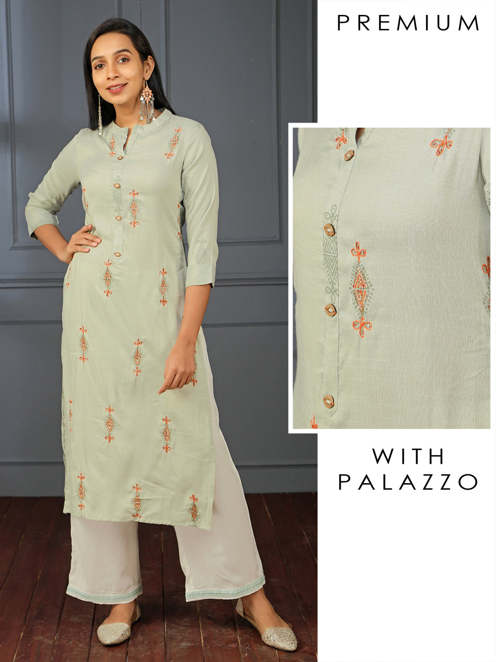 Mughal Printed Cut-dana Kurti & Embroidered Palazzo Set