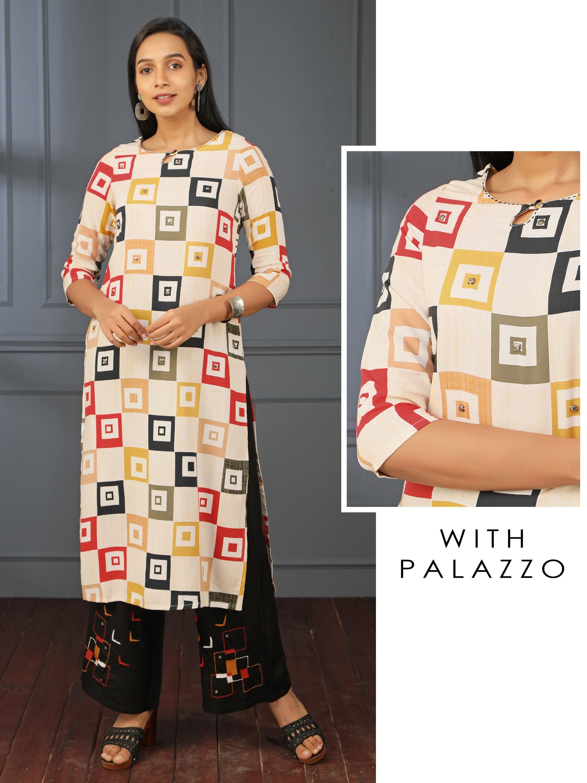 Checked Printed Rock Stud Kurti & Boomerang Embroidered Palazzo Set