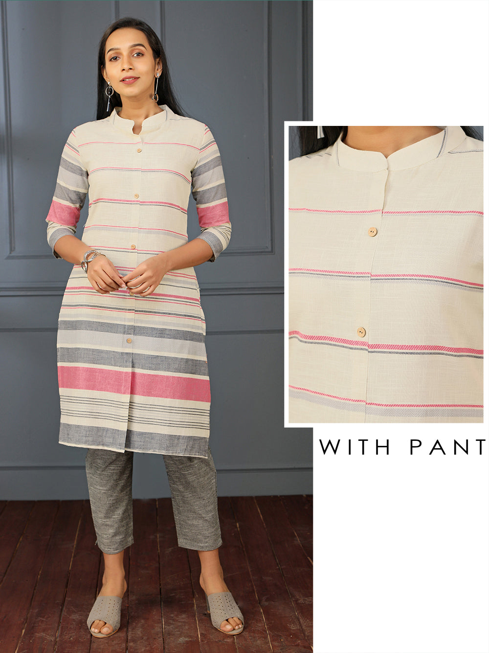 Bayadare Stripes Printed Kurti & Solid Narrow Fit Pant Set – Off-White