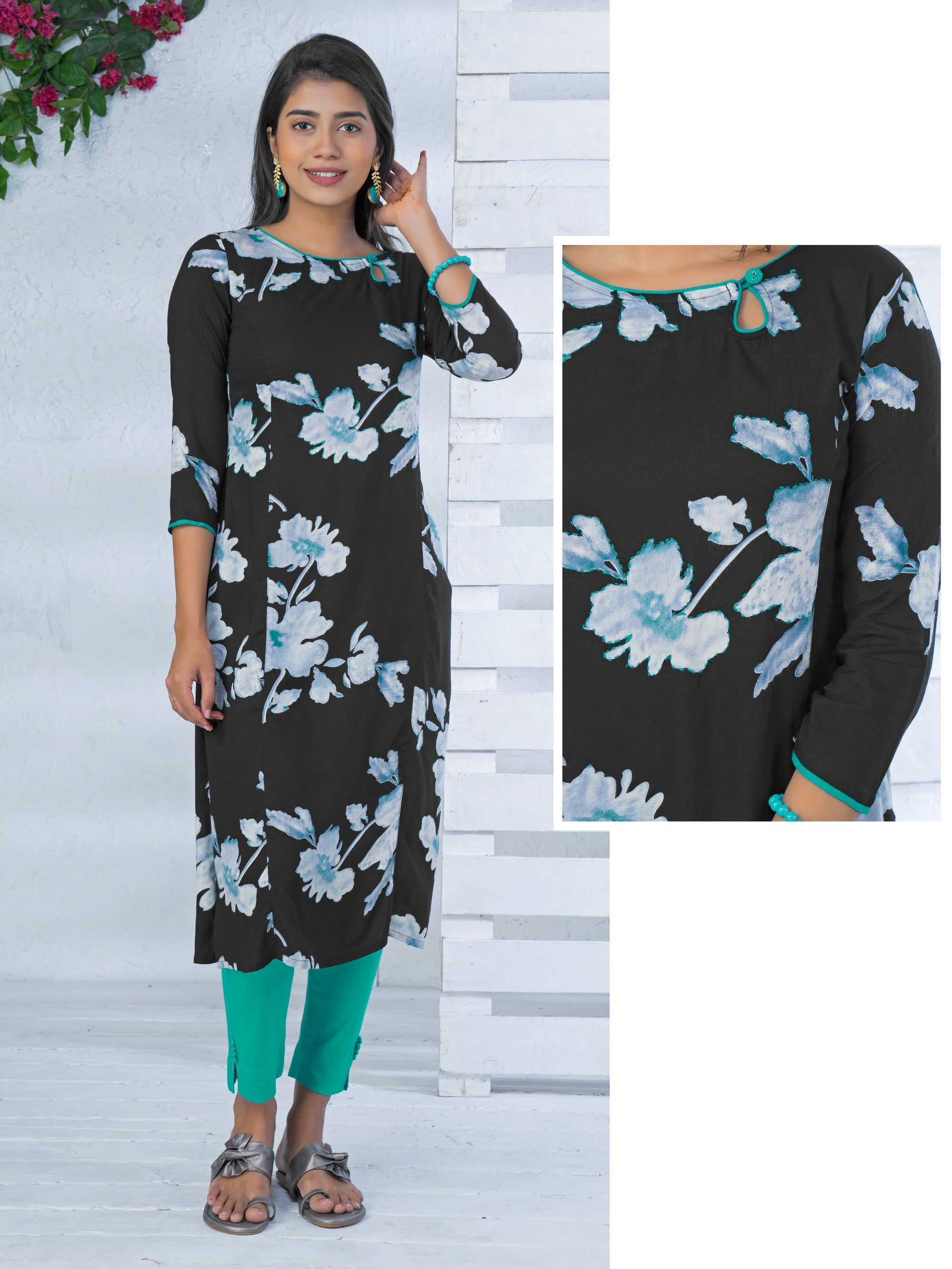 Grey Floral Printed Kurta - Black