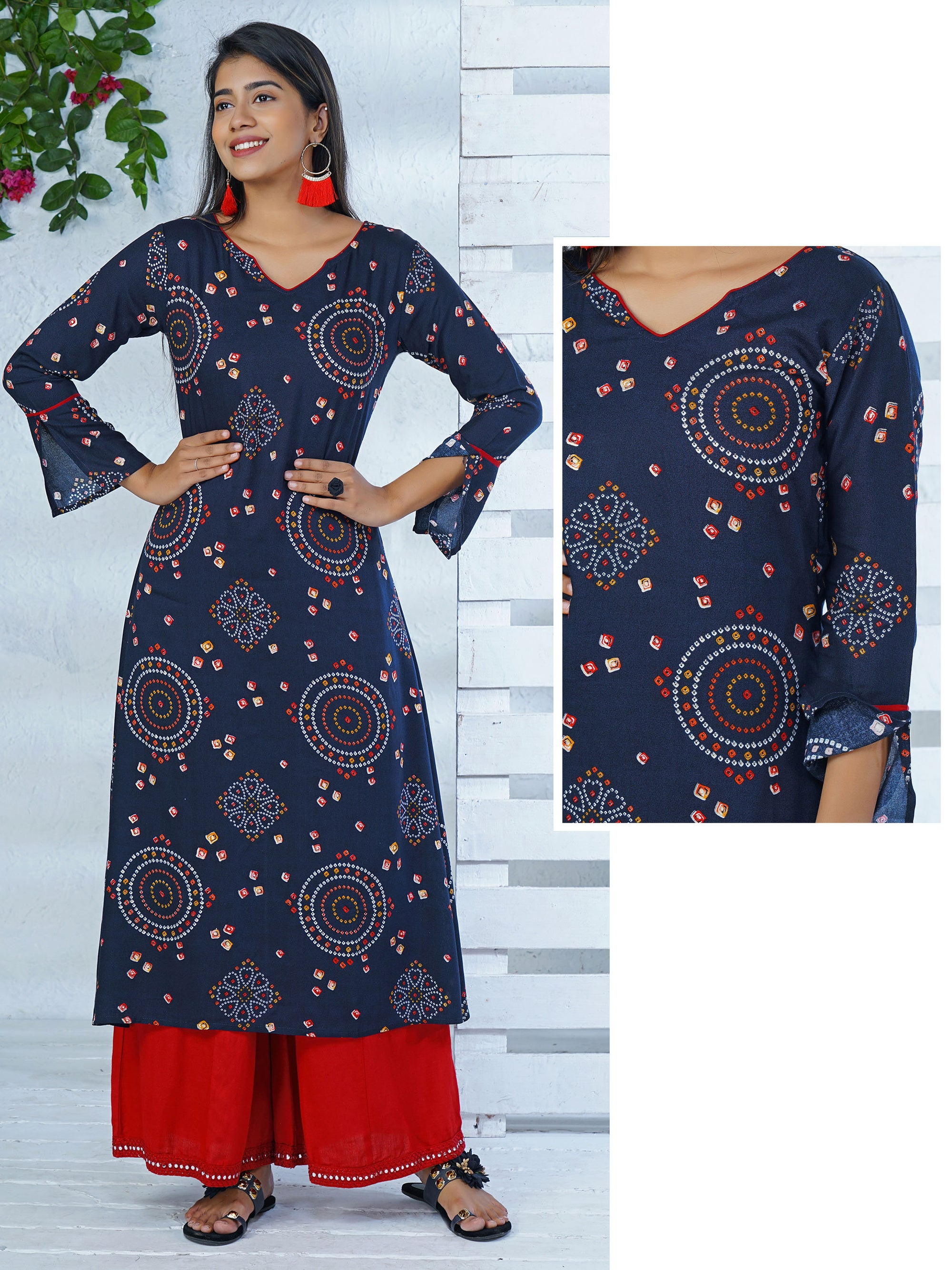 Bandhani Printed Kurta With Cut Bell Sleeves