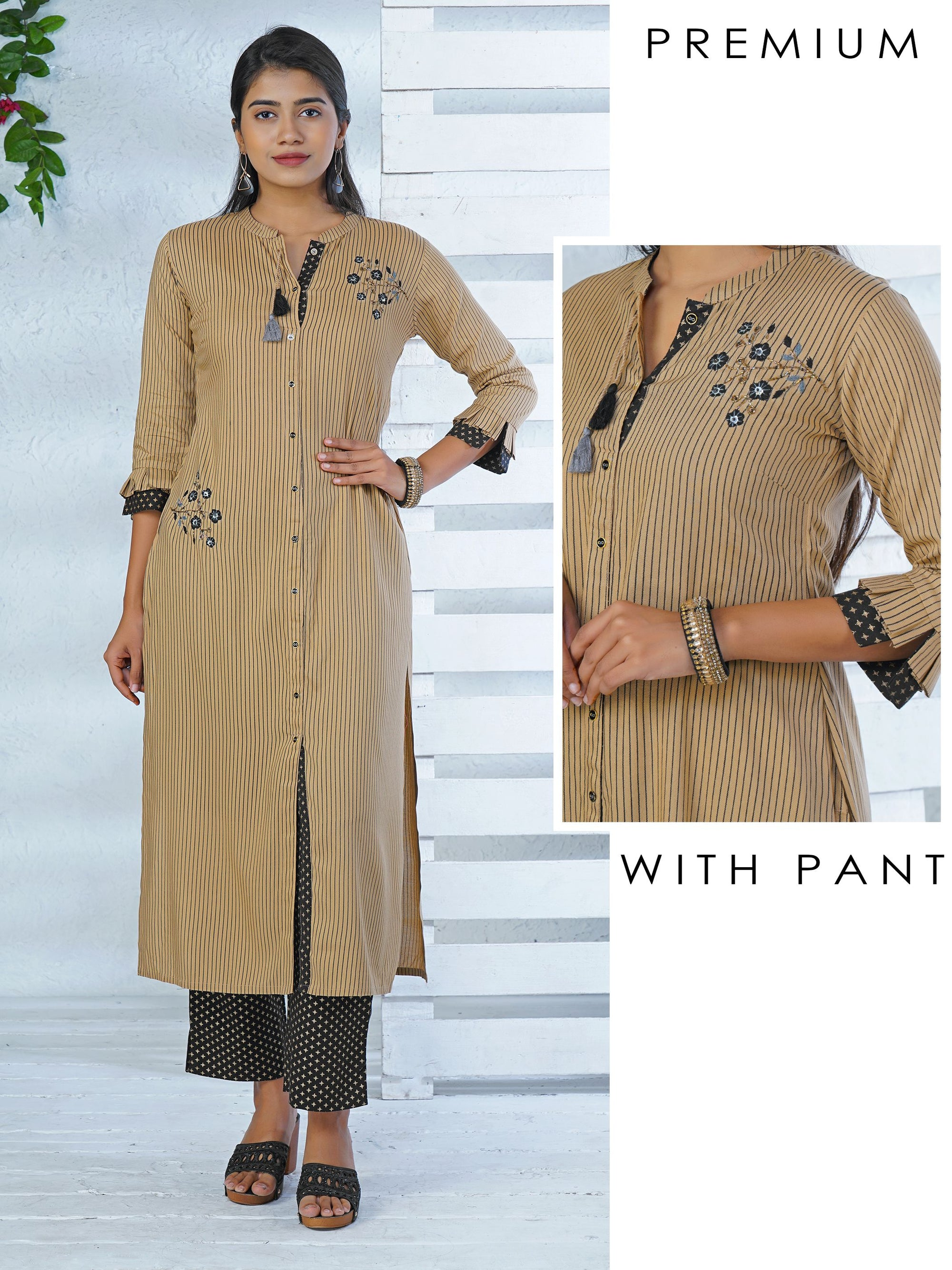 Striped Kurta Accentuated With Embellishments And Pant