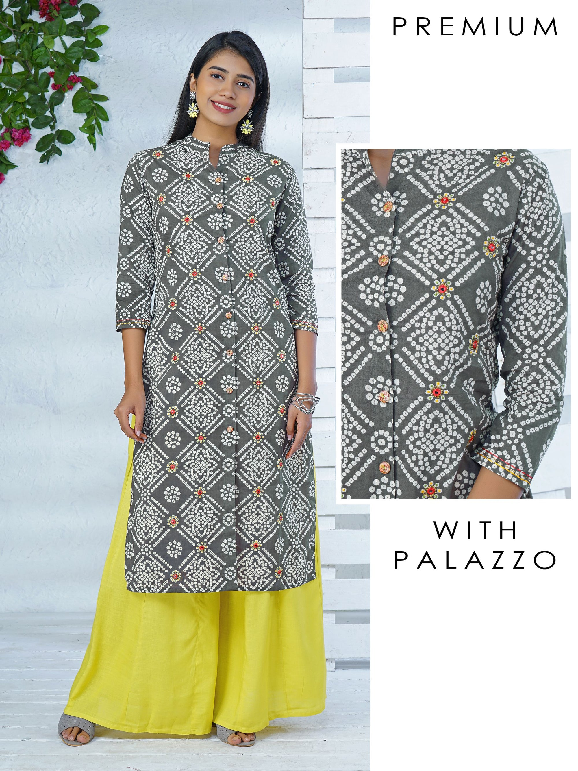 Bandhani Print With Foil Mirror Work Kurta with palazzo