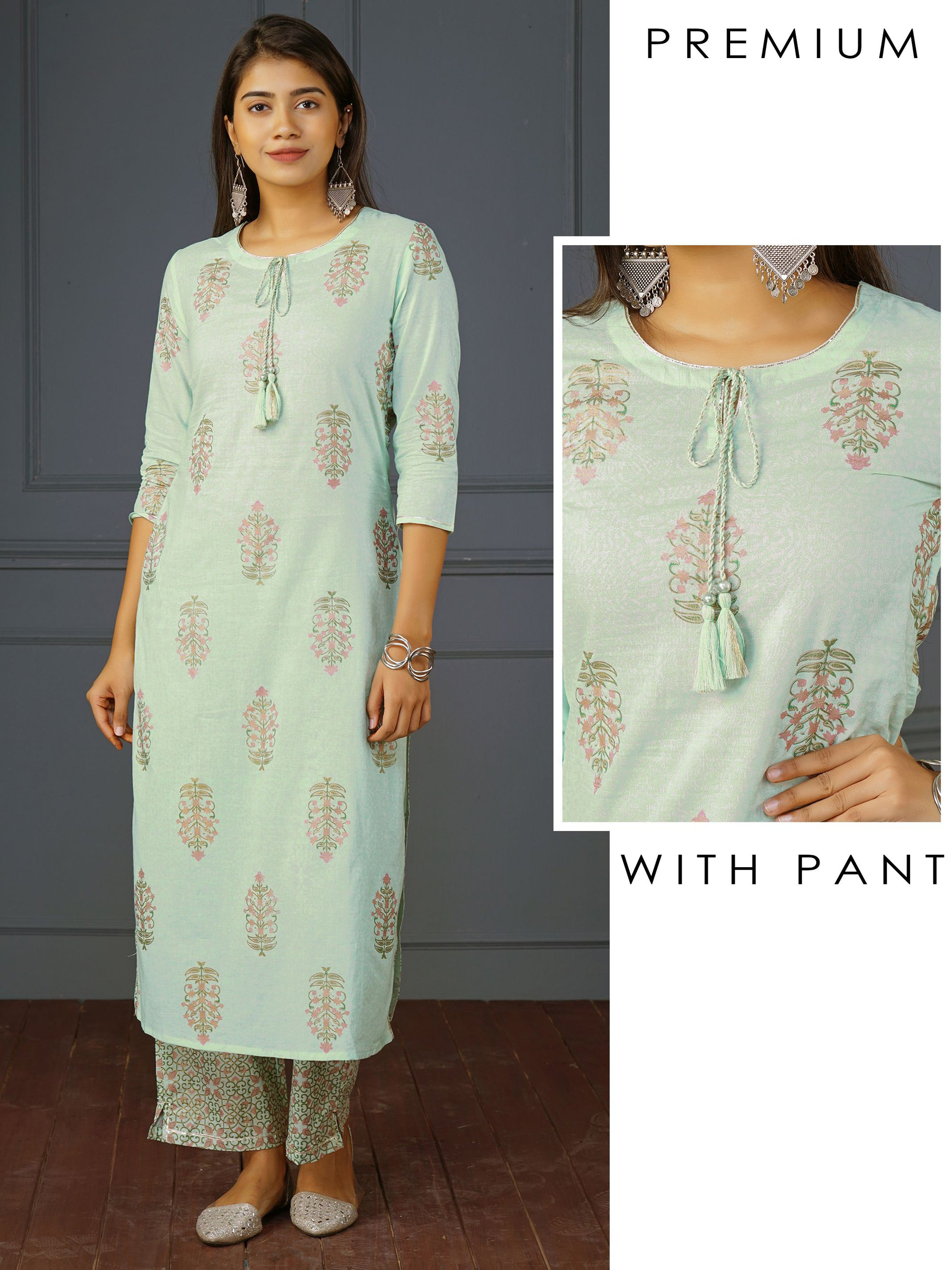 Floral Printed Kurti&Dabu Printed Pant Set – Mint Green