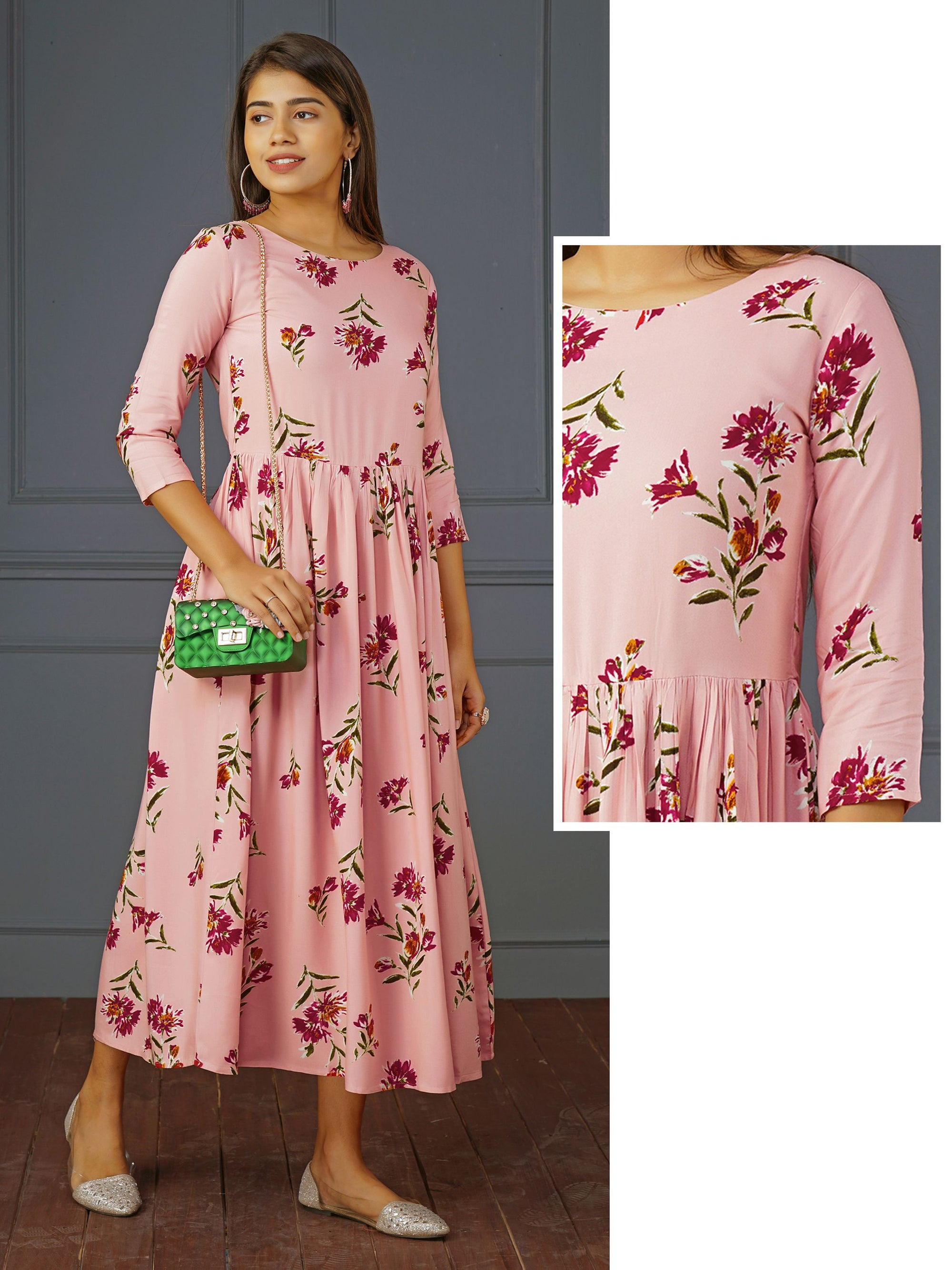 Floral Printed Elegant Gathered Maxi