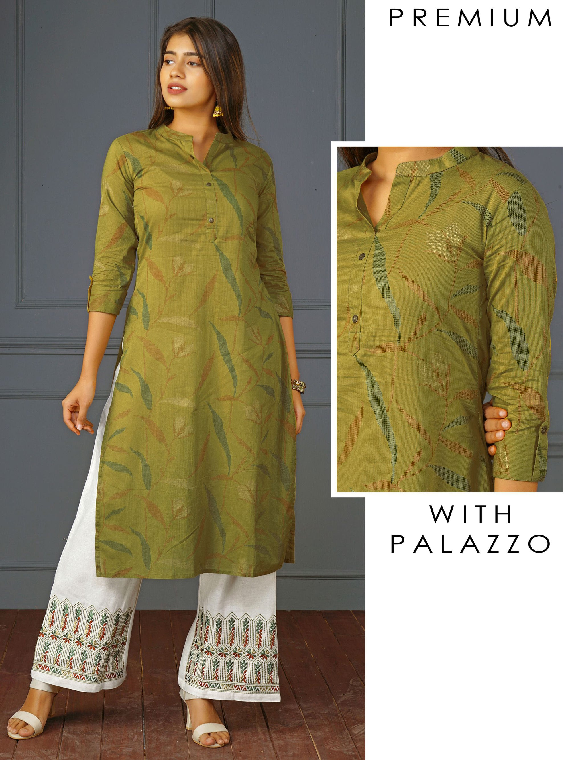 Pixel Leaf Printed Kurti& Floral Embroidered Palazzo Set