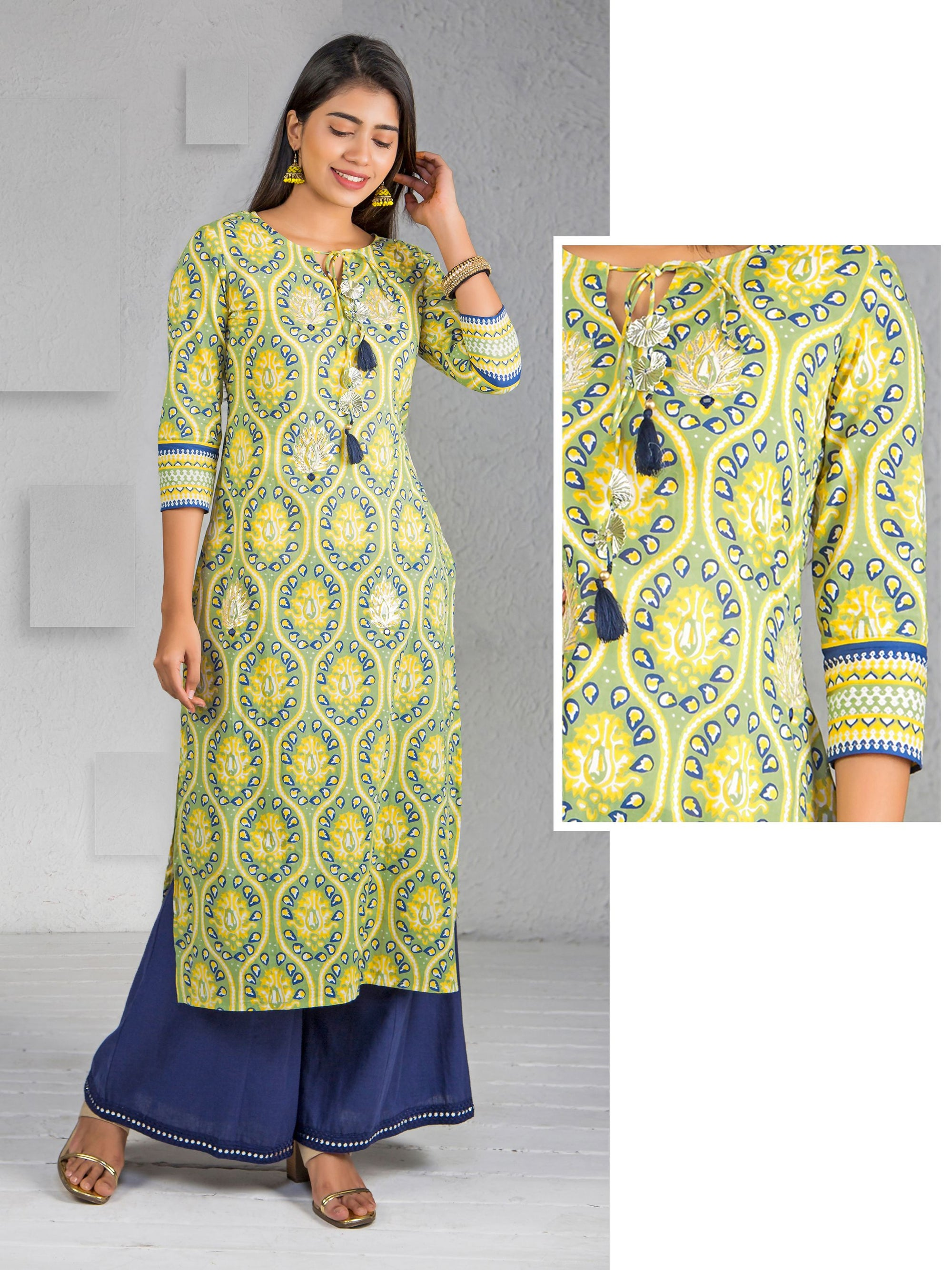 Abstract Printed Gota Work Cotton Kurti