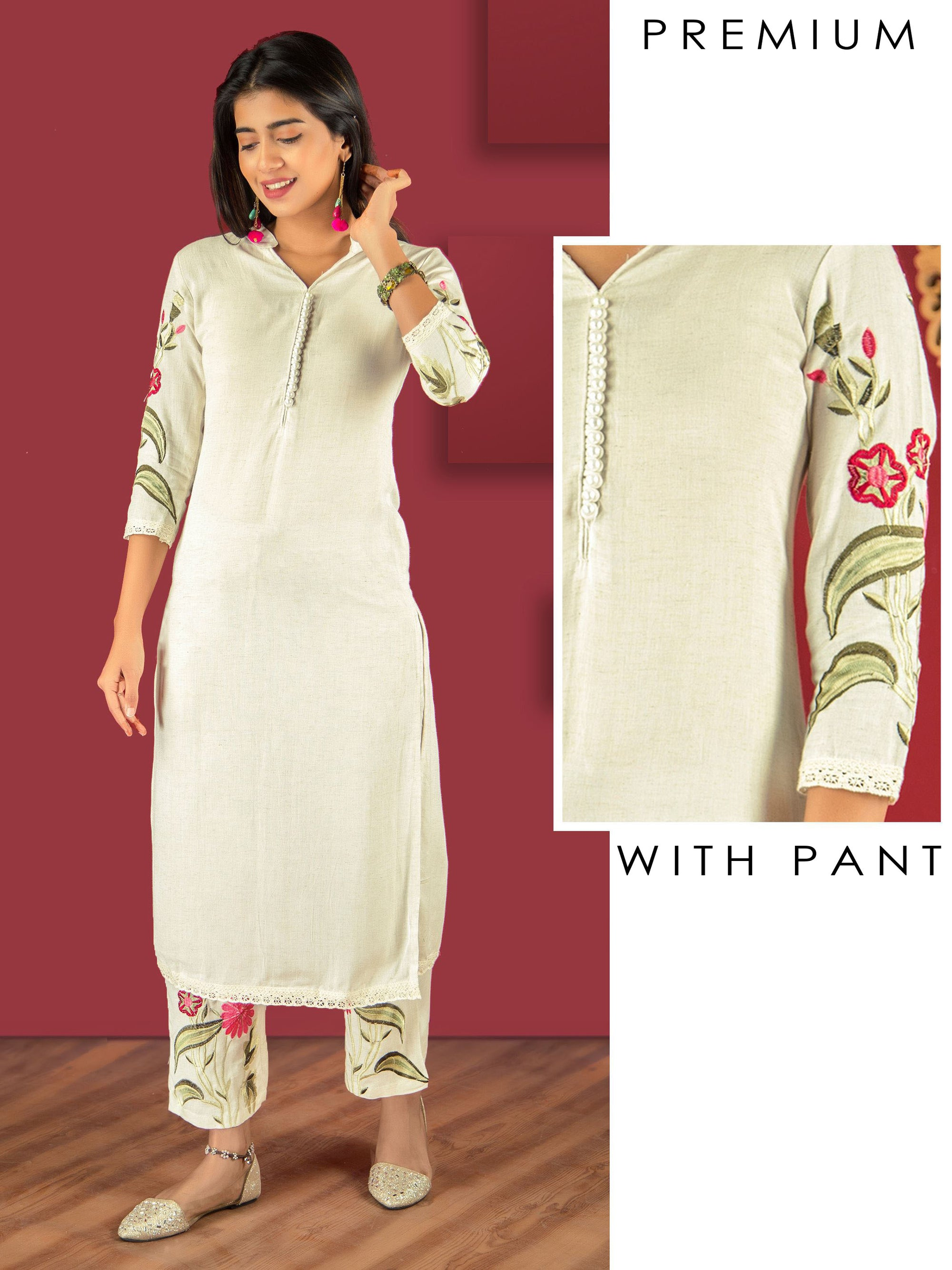 Pearl Buttoned Kurti & Floral Embroidered Pant Set