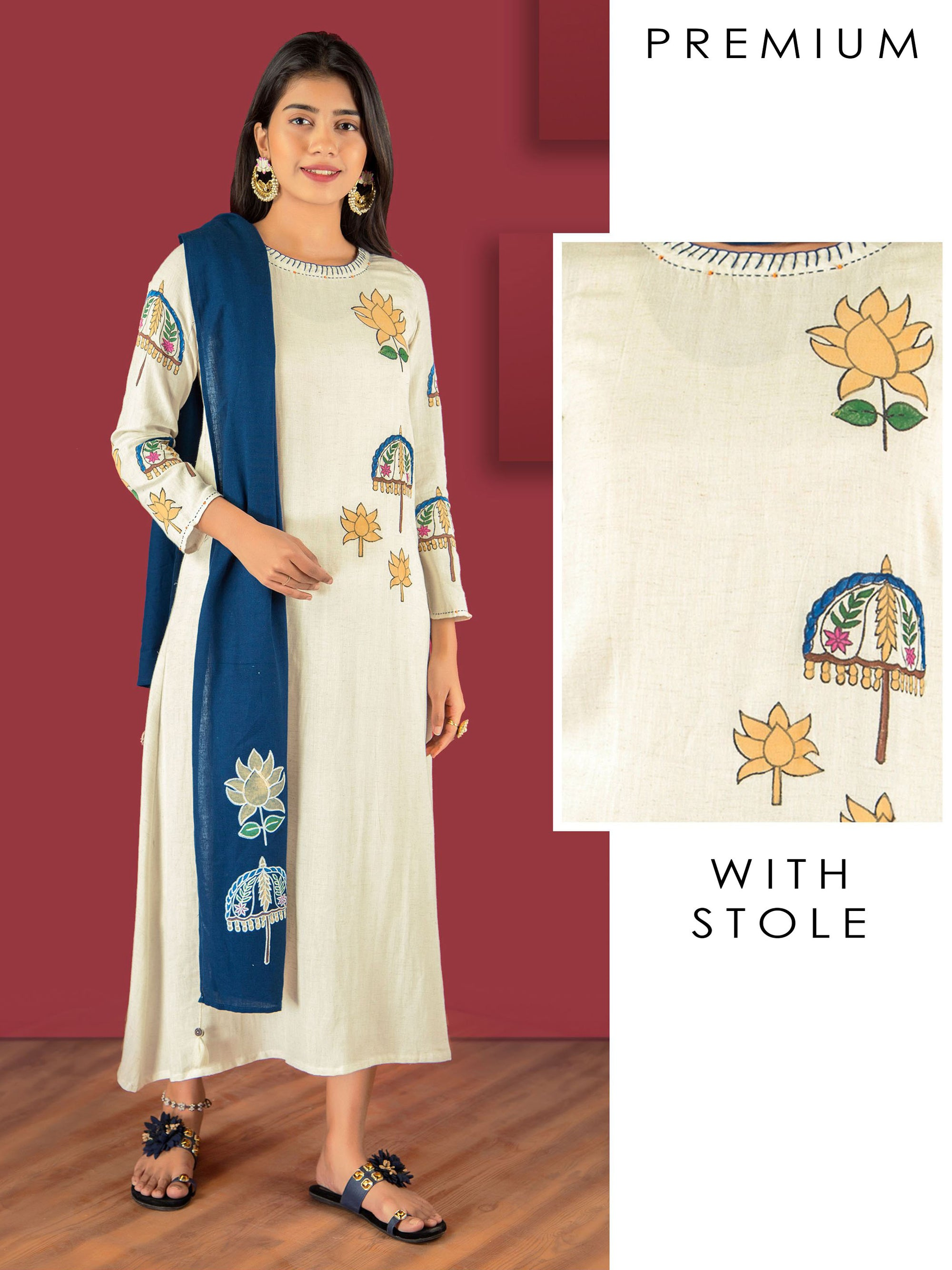 Umbrella Hand Block Printed Kurti with Stole