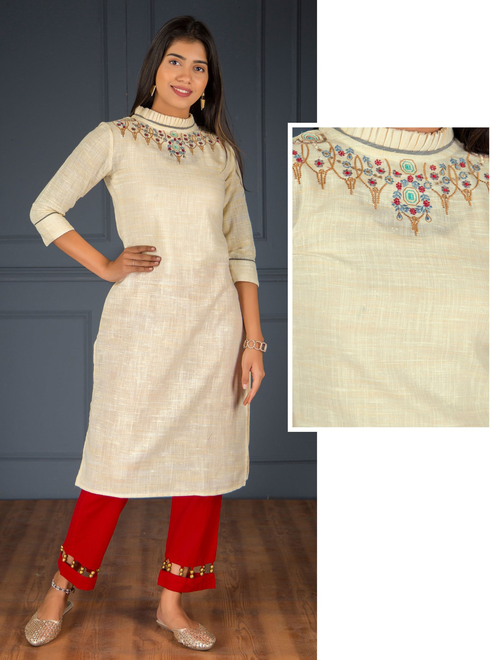 Minimal Cross Stitch Embroidered Kurti