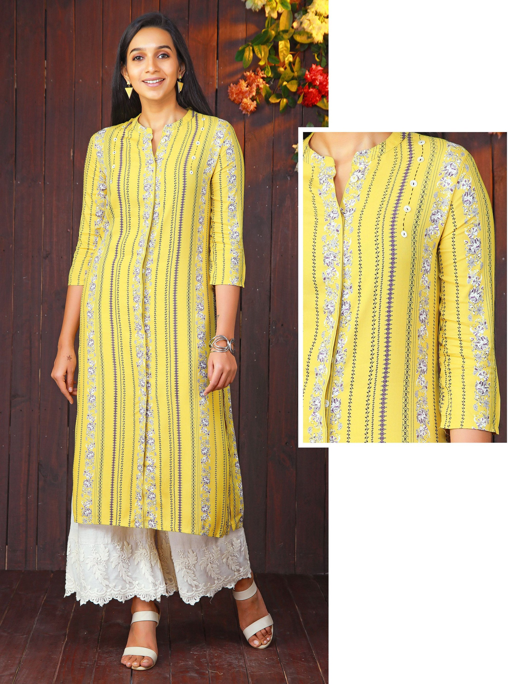 Mother of Pearl Buttoned & Floral Striped Kurti - Yellow