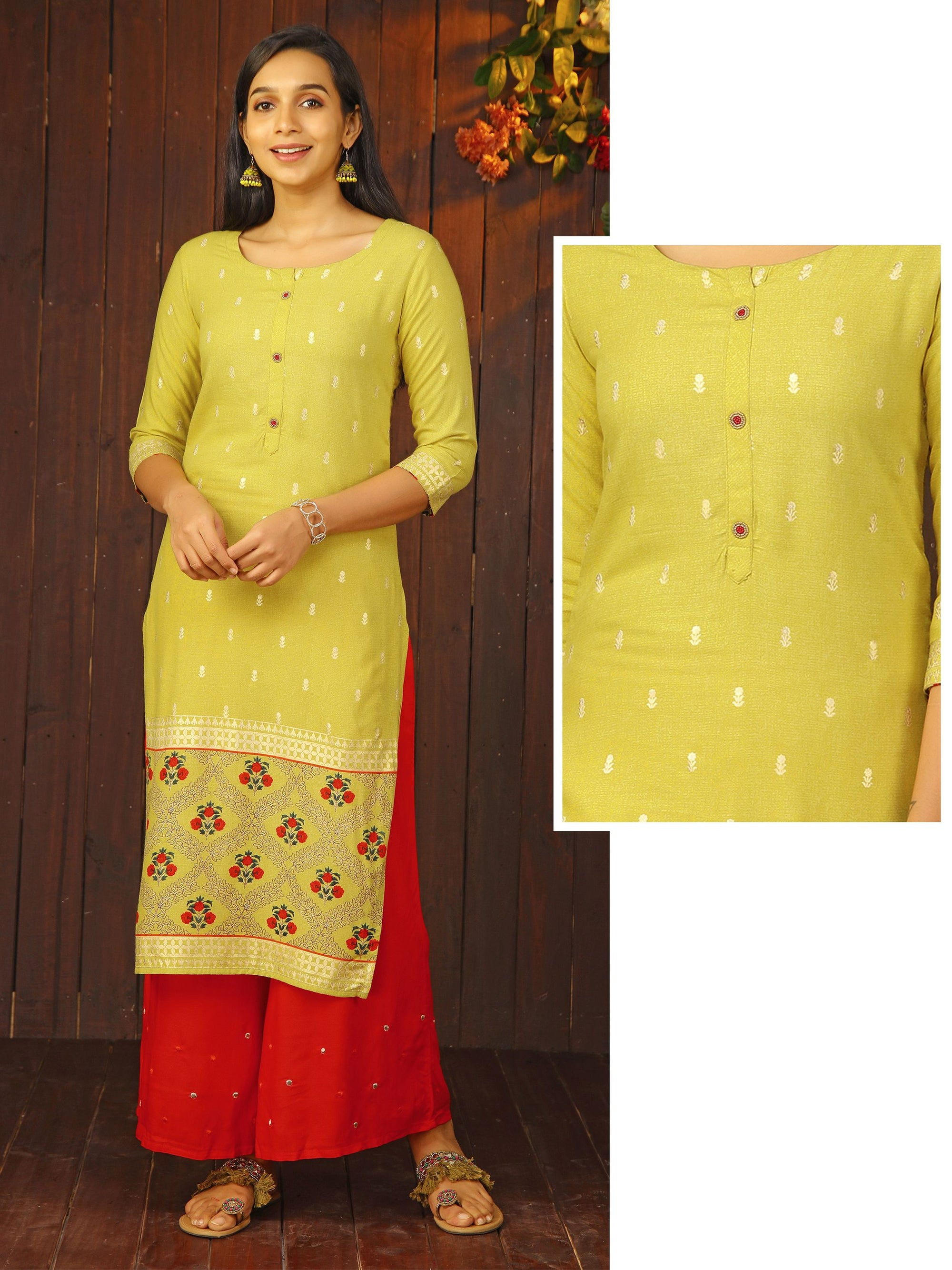 Minimal Foil Printed Bead Worked Kurti