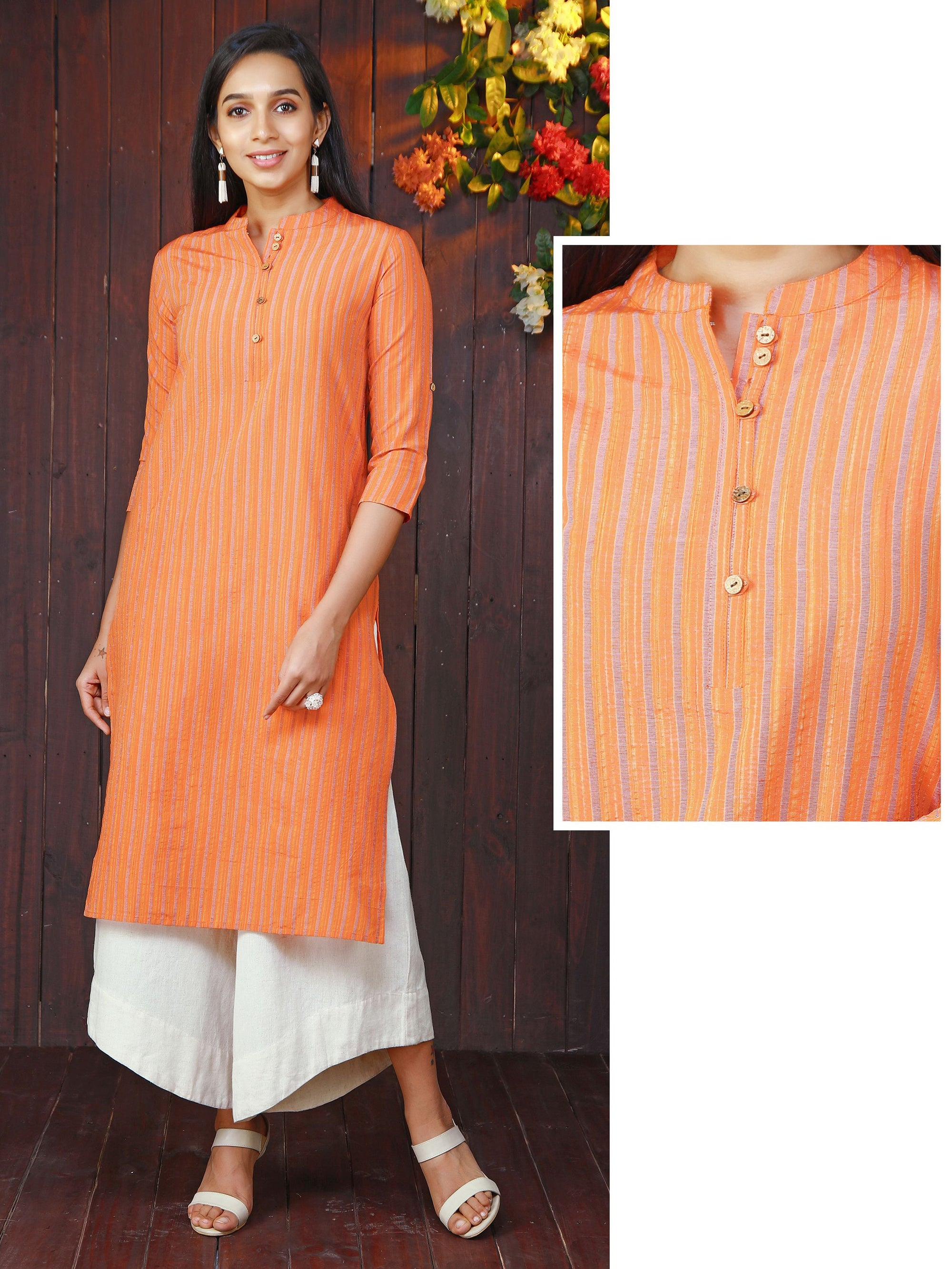 Woven Shadow Striped Kurti