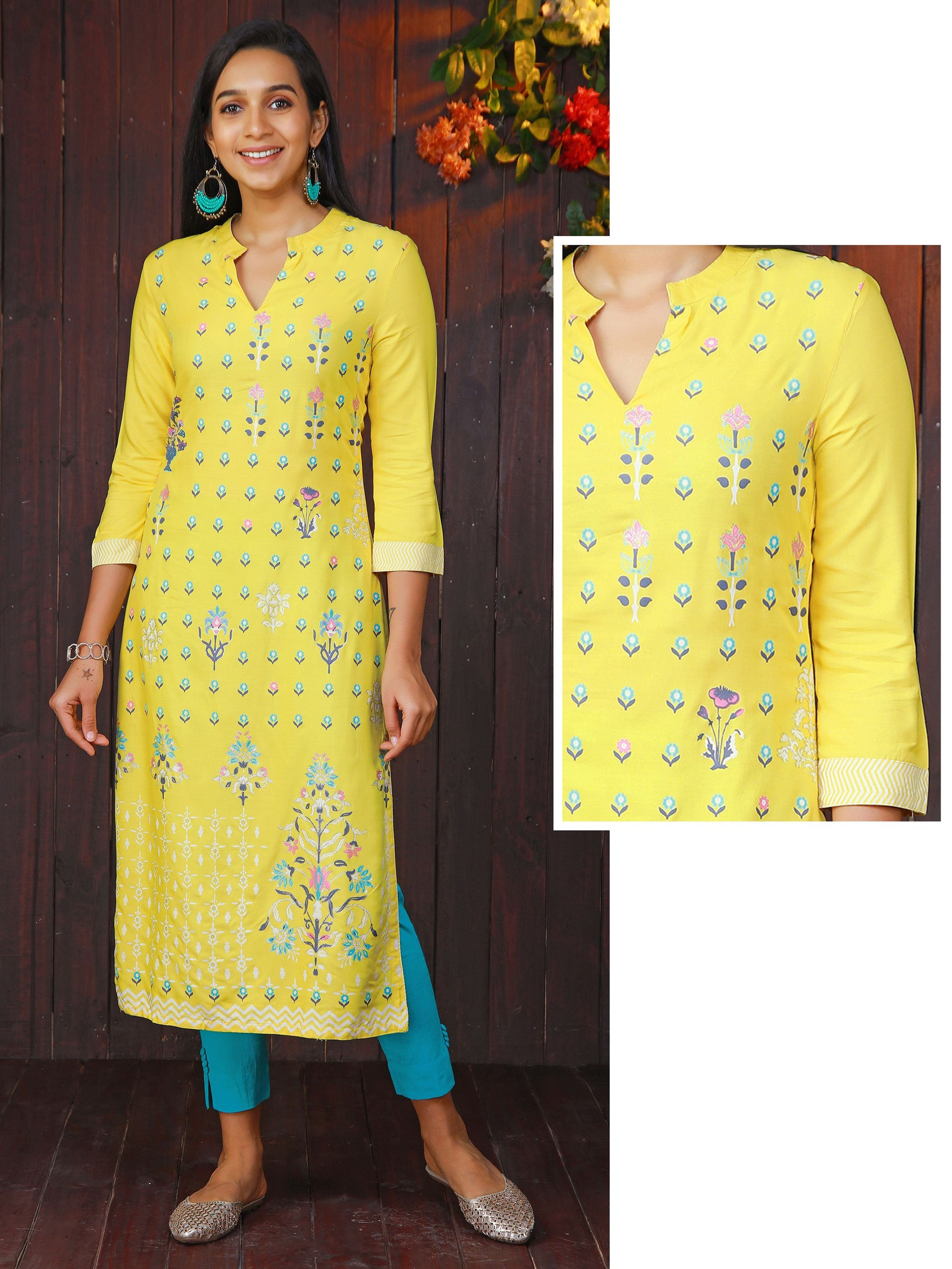 Minimal Floral Printed Kurti - Lemon Yellow