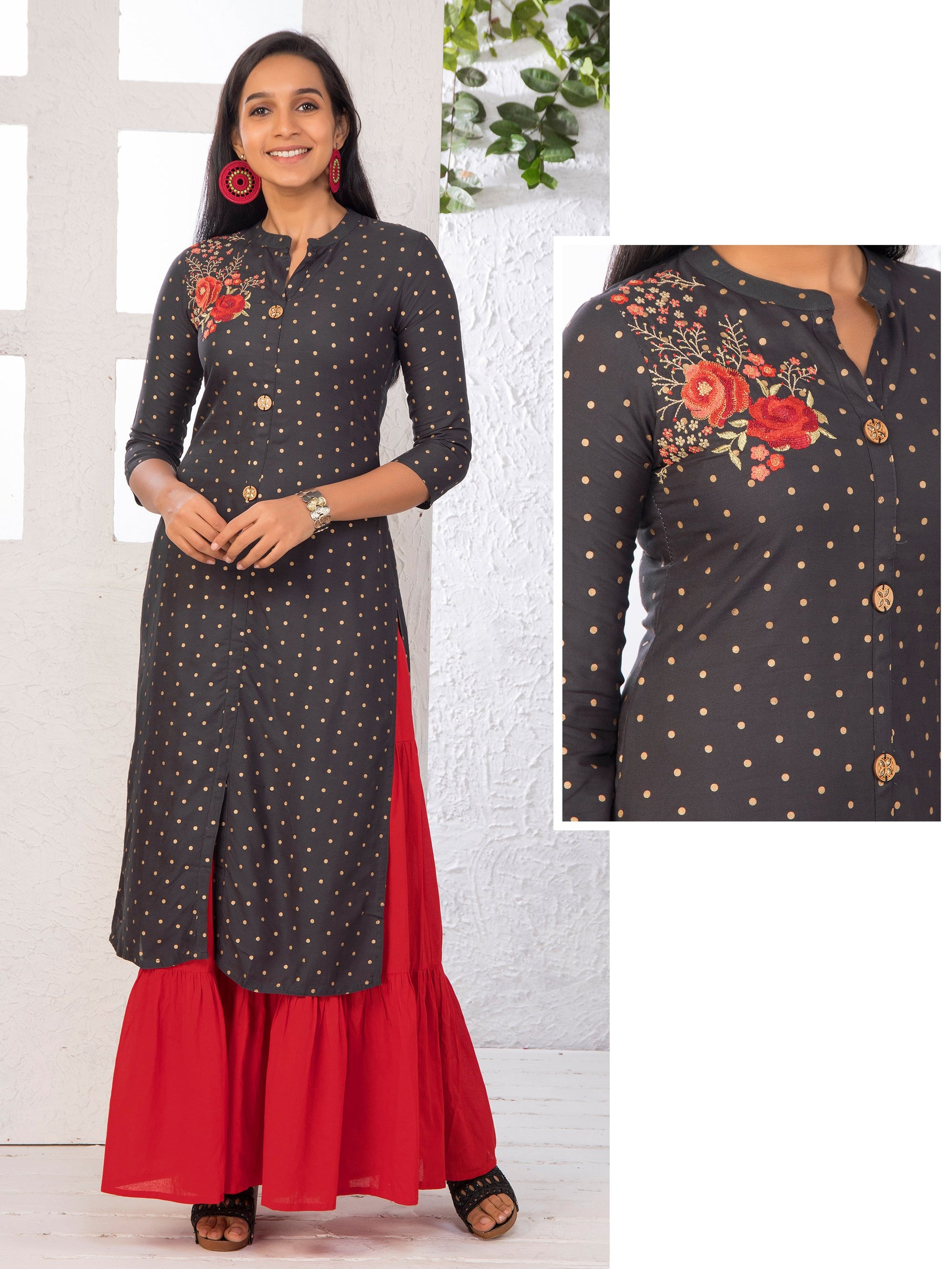 Minimal Floral Embroidered Kundan Stone worked Kurti – Slate Grey