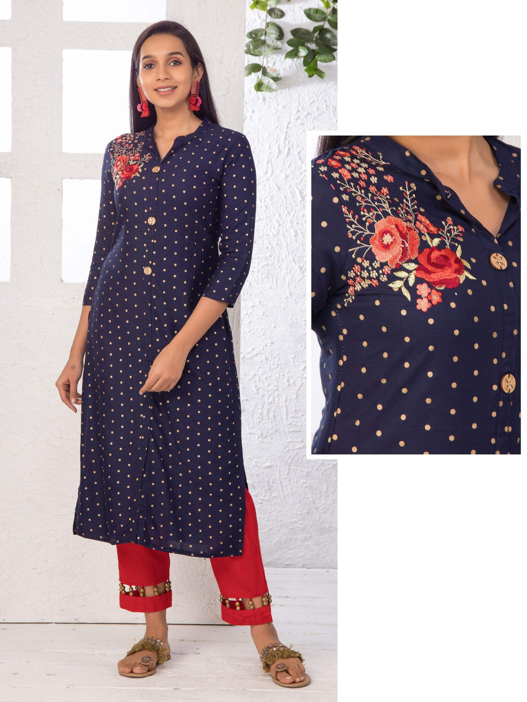 Minimal Floral Embroidered Kundan Stone worked Kurti – Navy Blue