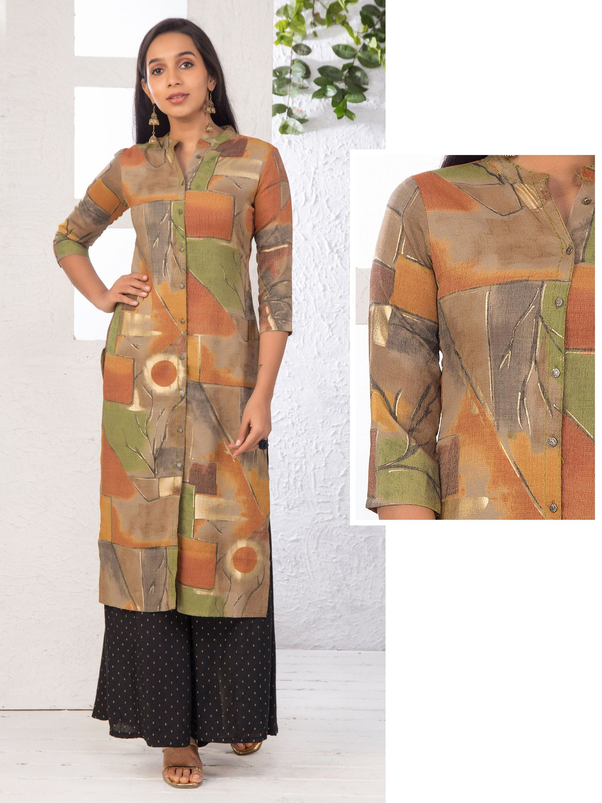 Multi-Toned Foil Printed Art Silk Kurti