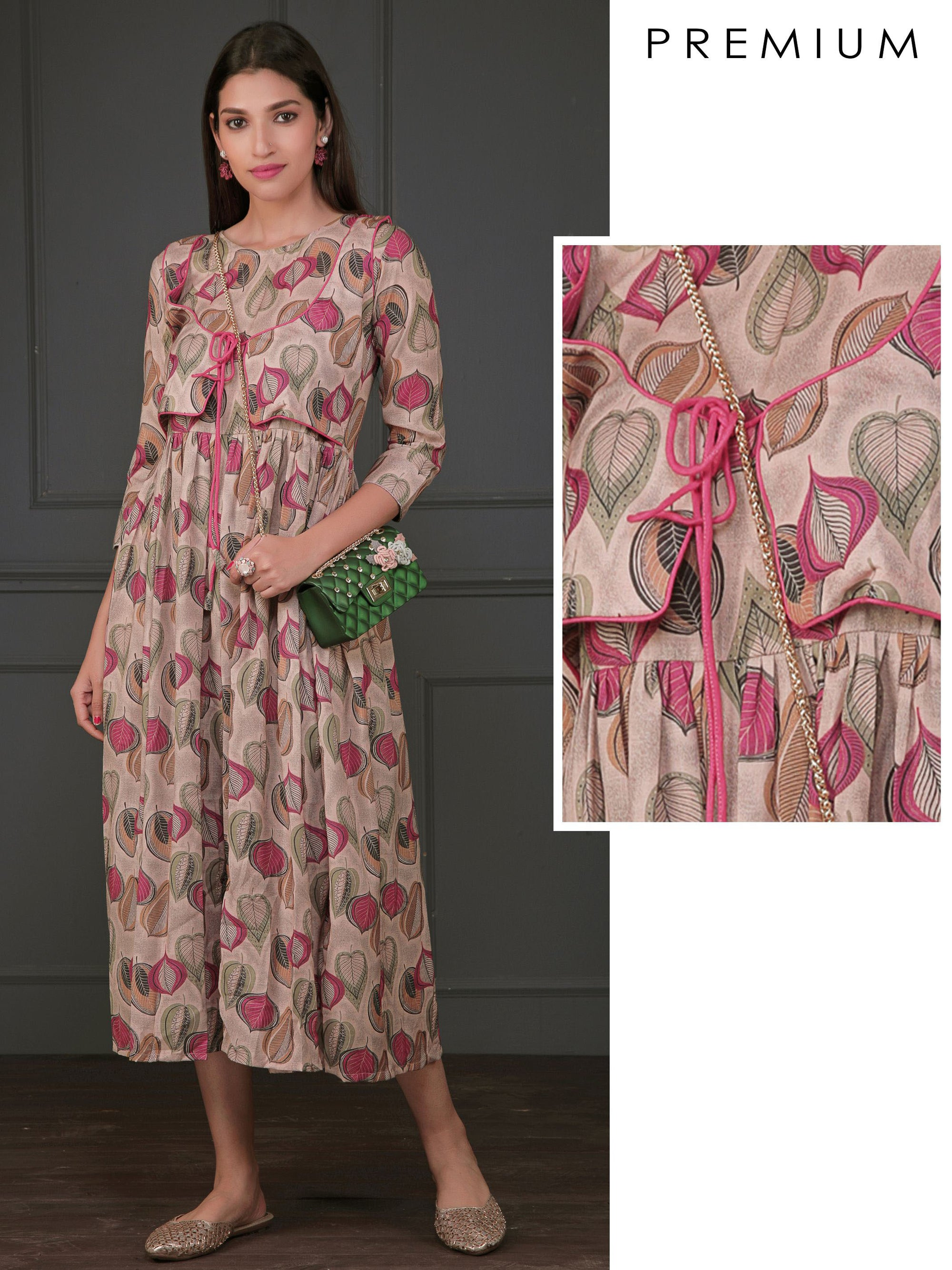 Abstract Leaf Busy Printed Stitched Waistcoat With Gathered Kurti