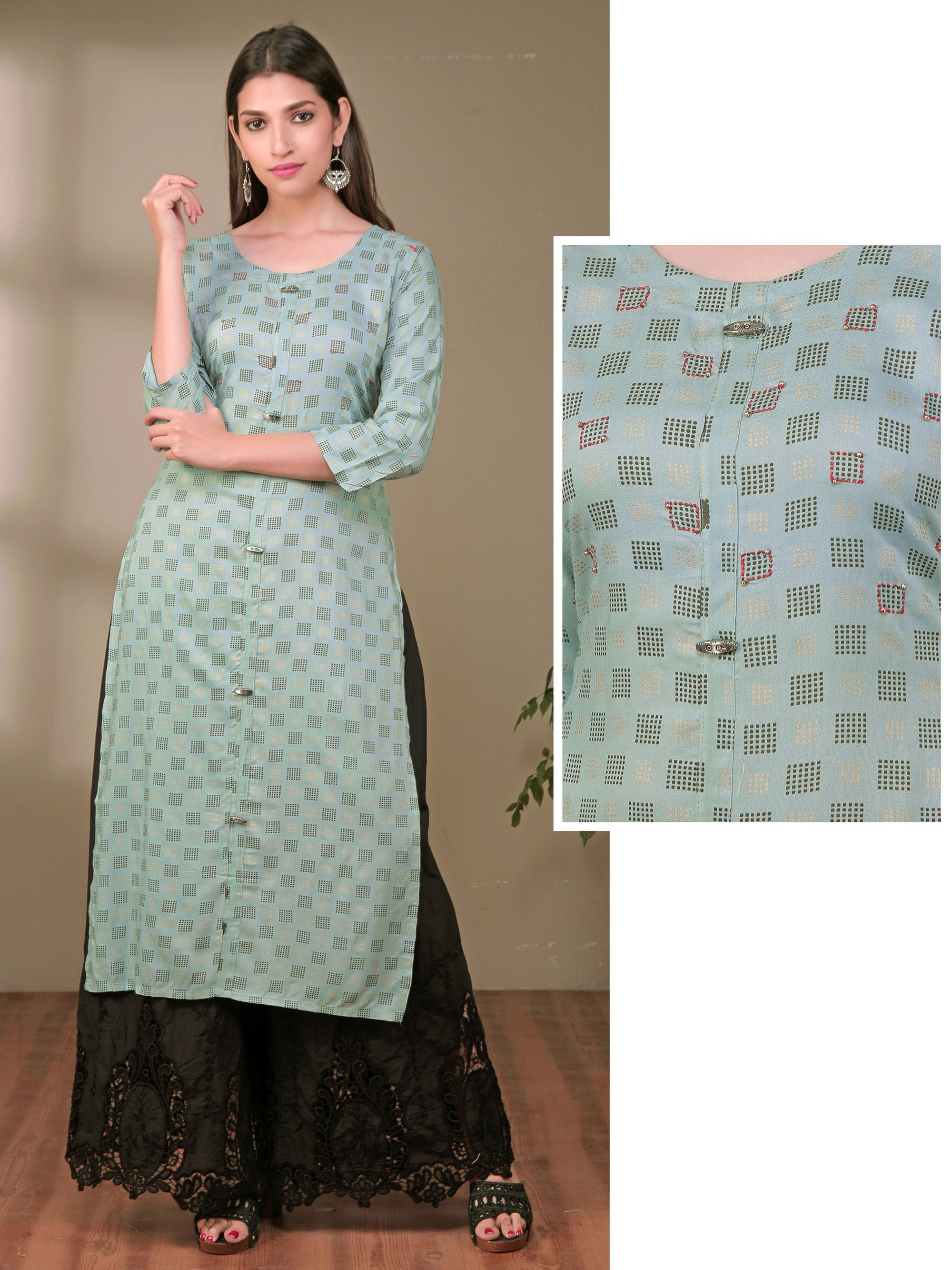Resham & Beads Work Oxidised Brooch Studded Khadi Print Cotton Kurti
